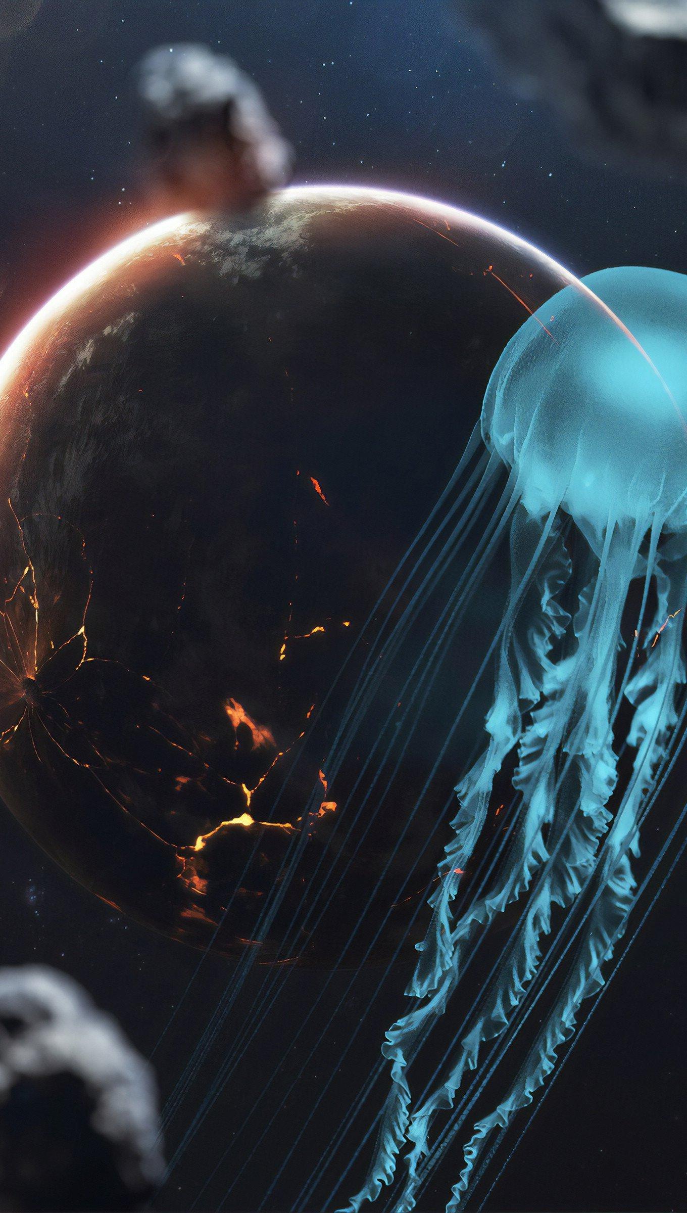 Fondos de pantalla Medusa en el espacio Vertical