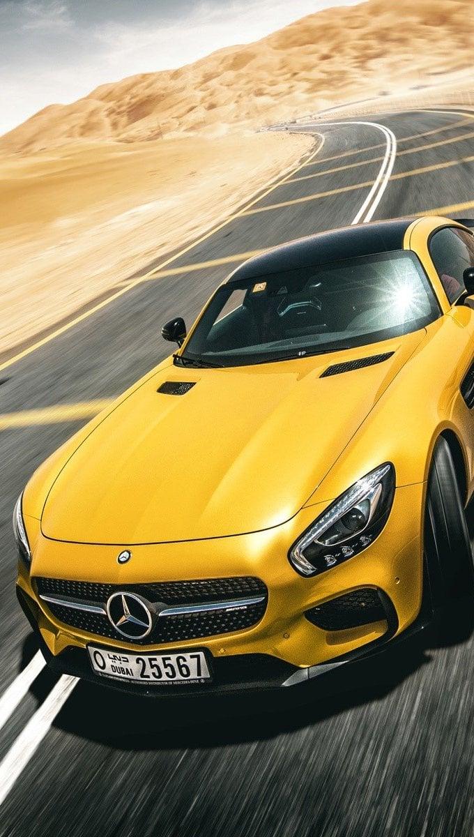 Wallpaper Mercedes Benz AMG GT S yellow Vertical