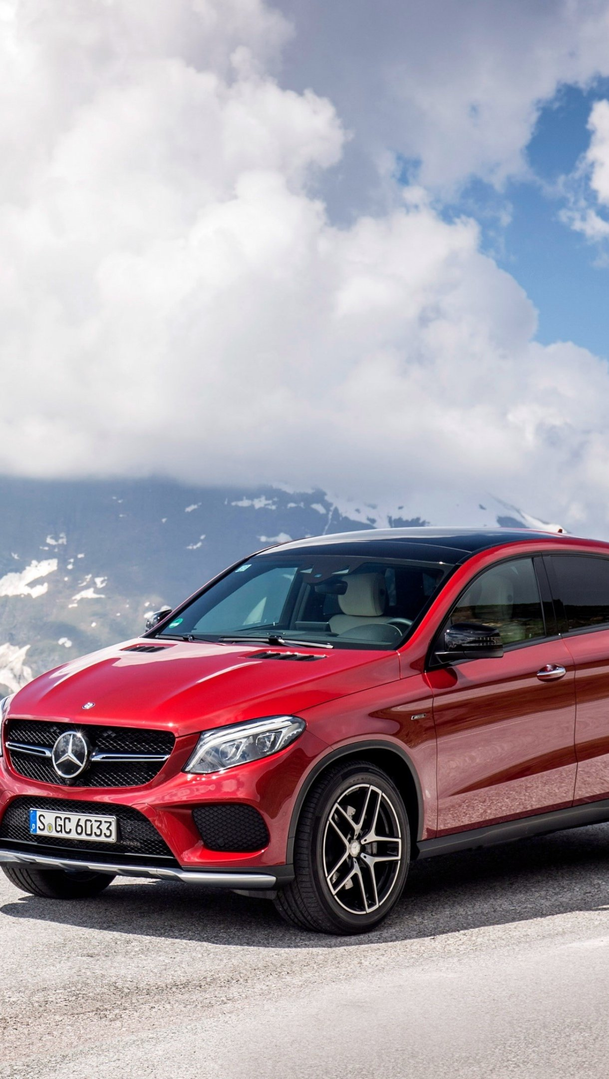 Wallpaper Mercedes Benz GLE 450 AMG Red in mountains Vertical