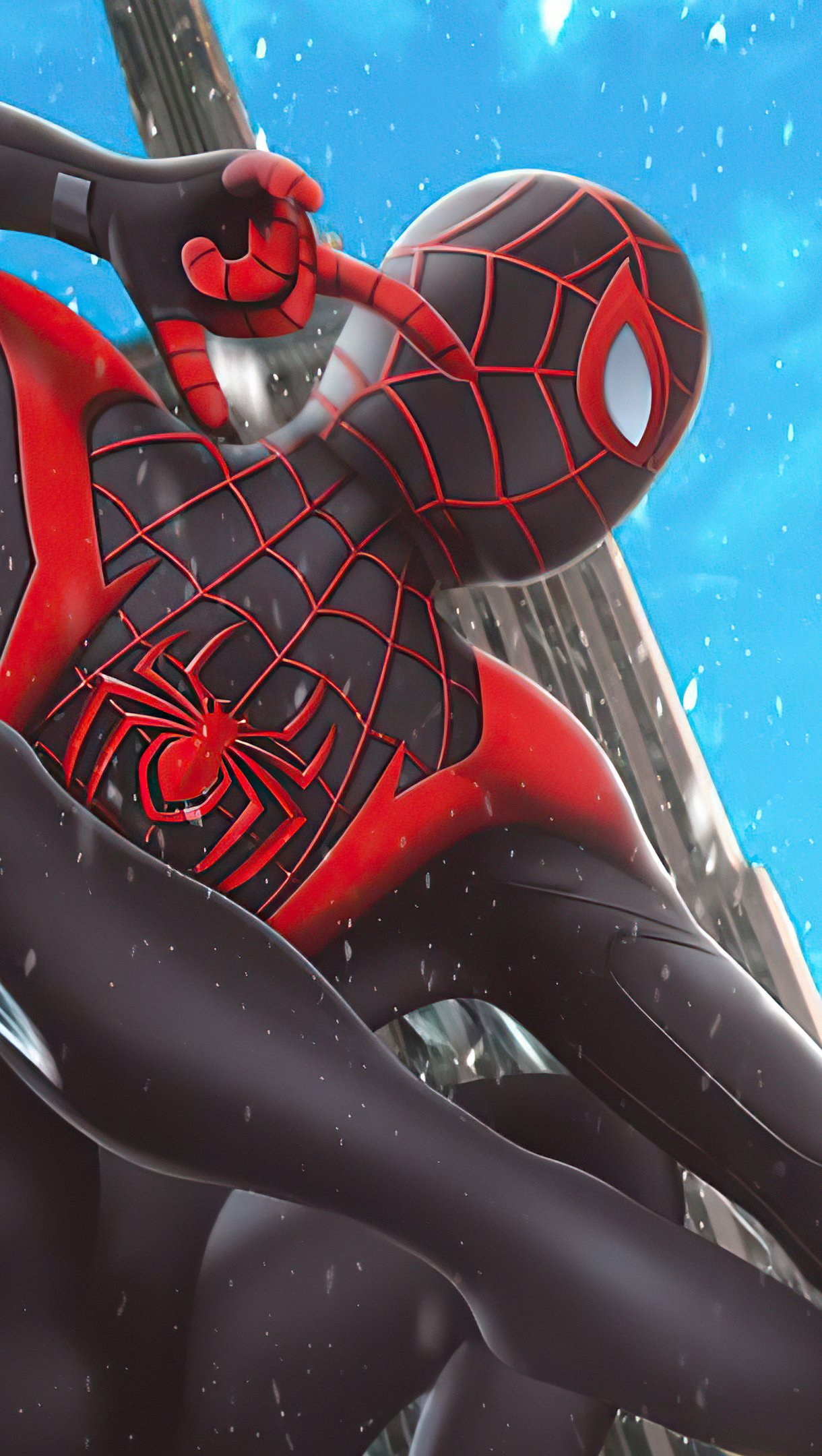 Wallpaper Miles Morales as Spiderman with black suit Vertical