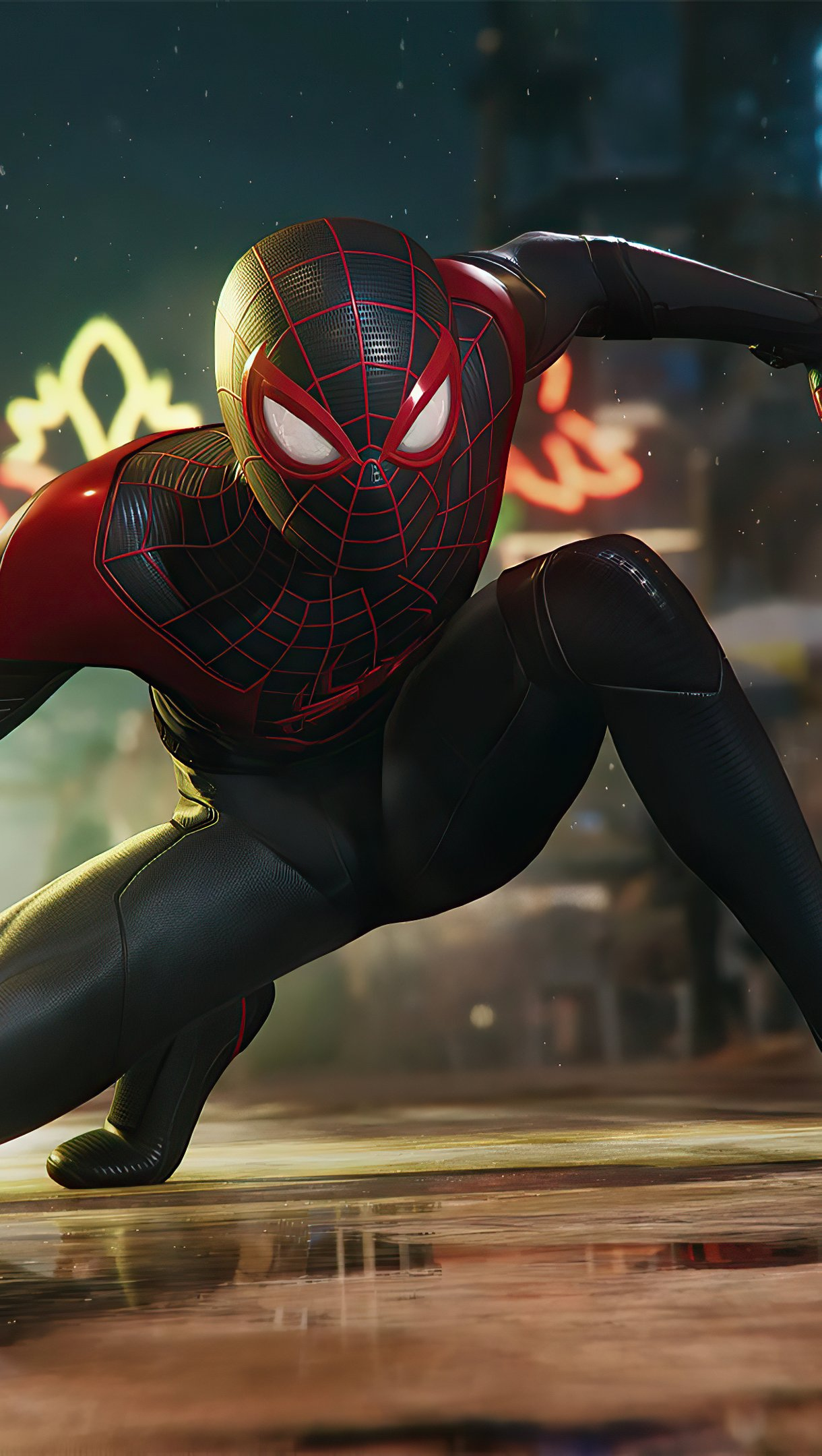 Wallpaper Miles Morales as Spiderman in the city Vertical