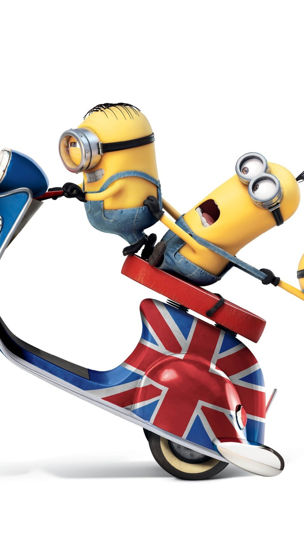 Wallpaper Minions in a British scooter Vertical