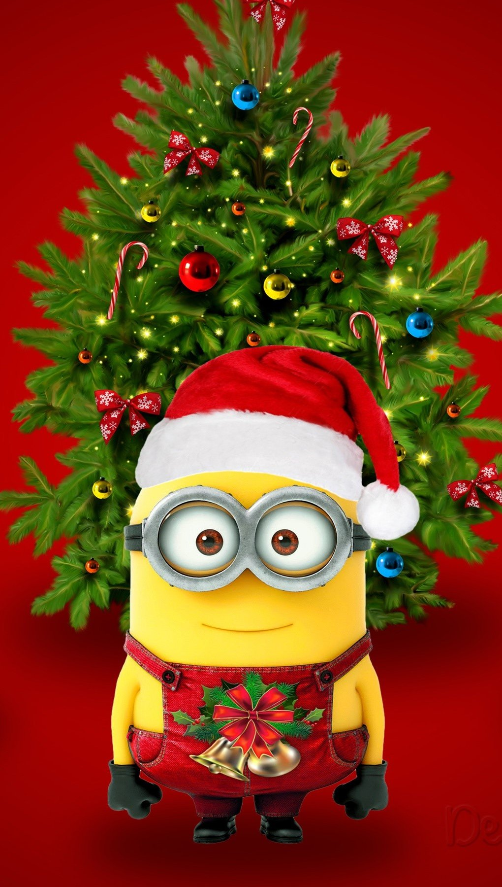 Wallpaper Minions dressed as Santa Vertical