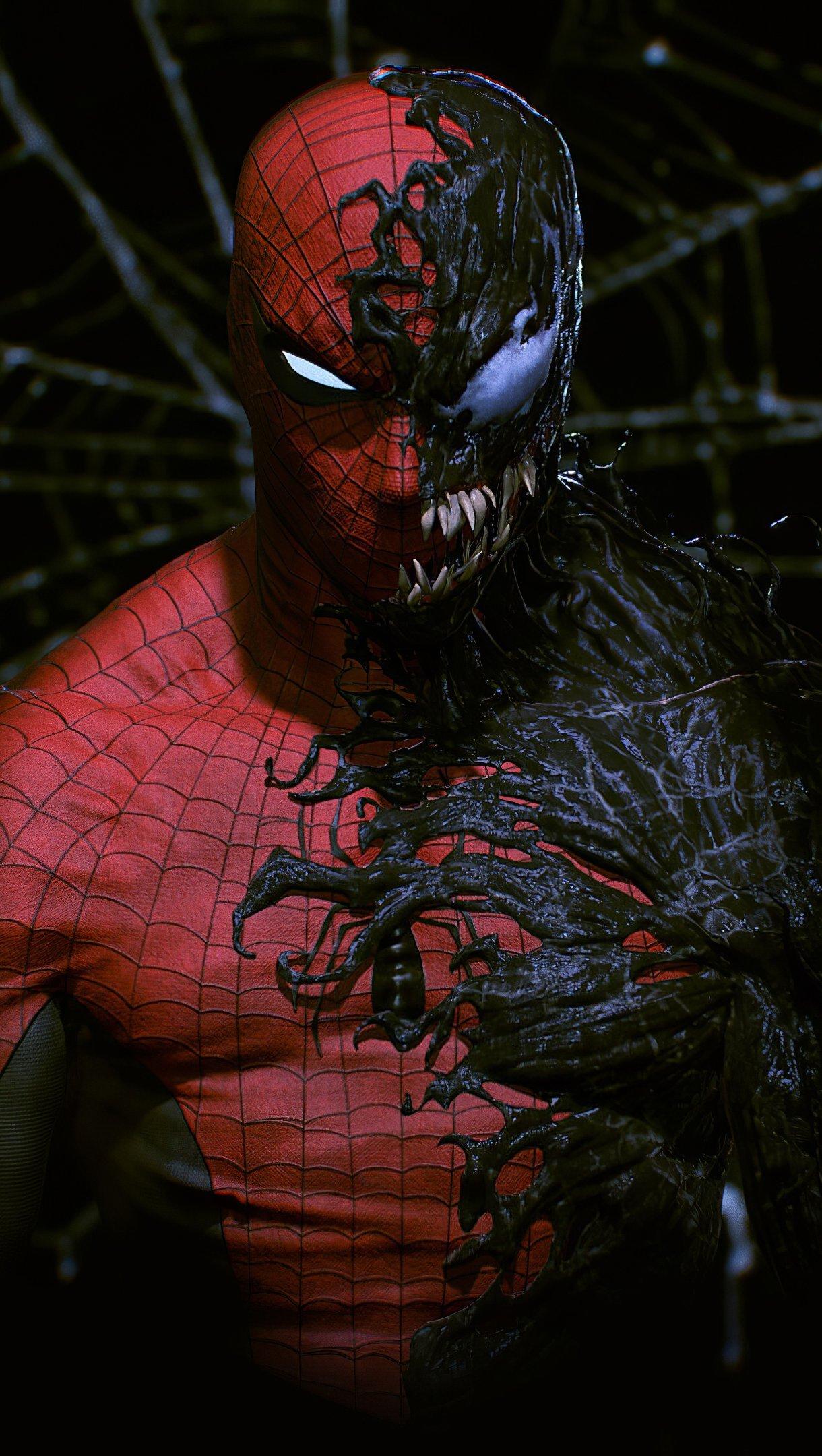 Fondos de pantalla Mitad Hombre Araña mitad Venom Vertical