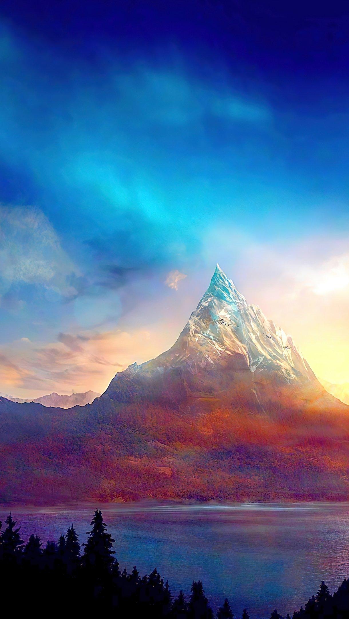 Fondos de pantalla Montaña colorida al atardecer Vertical