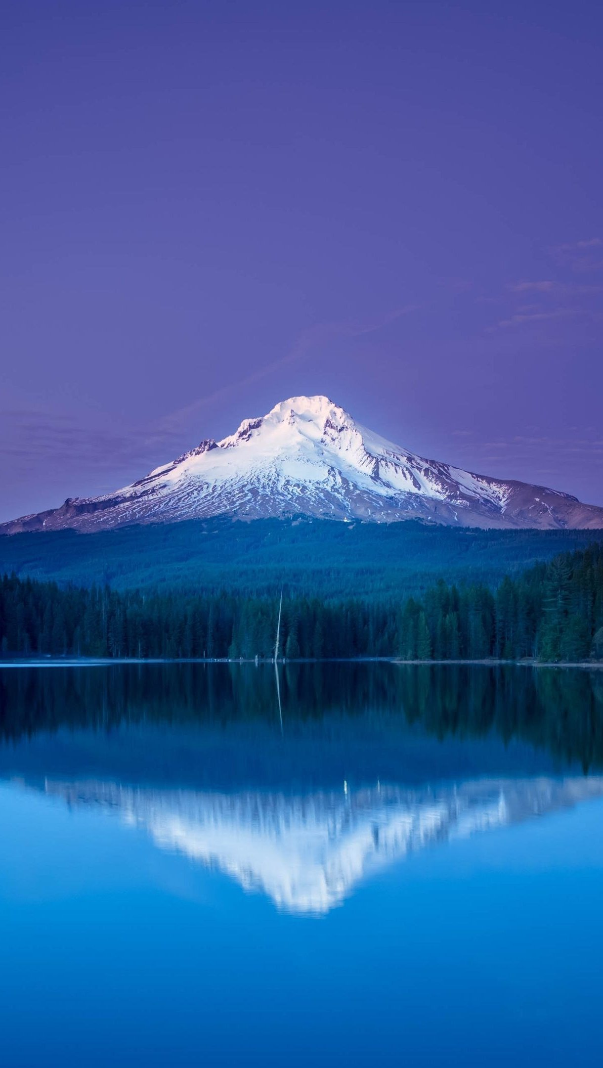 Wallpaper Mountain reflected in lake at night Vertical