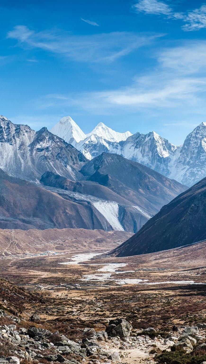 Fondos de pantalla Montañas Ama Dablam en el Himalaya Vertical