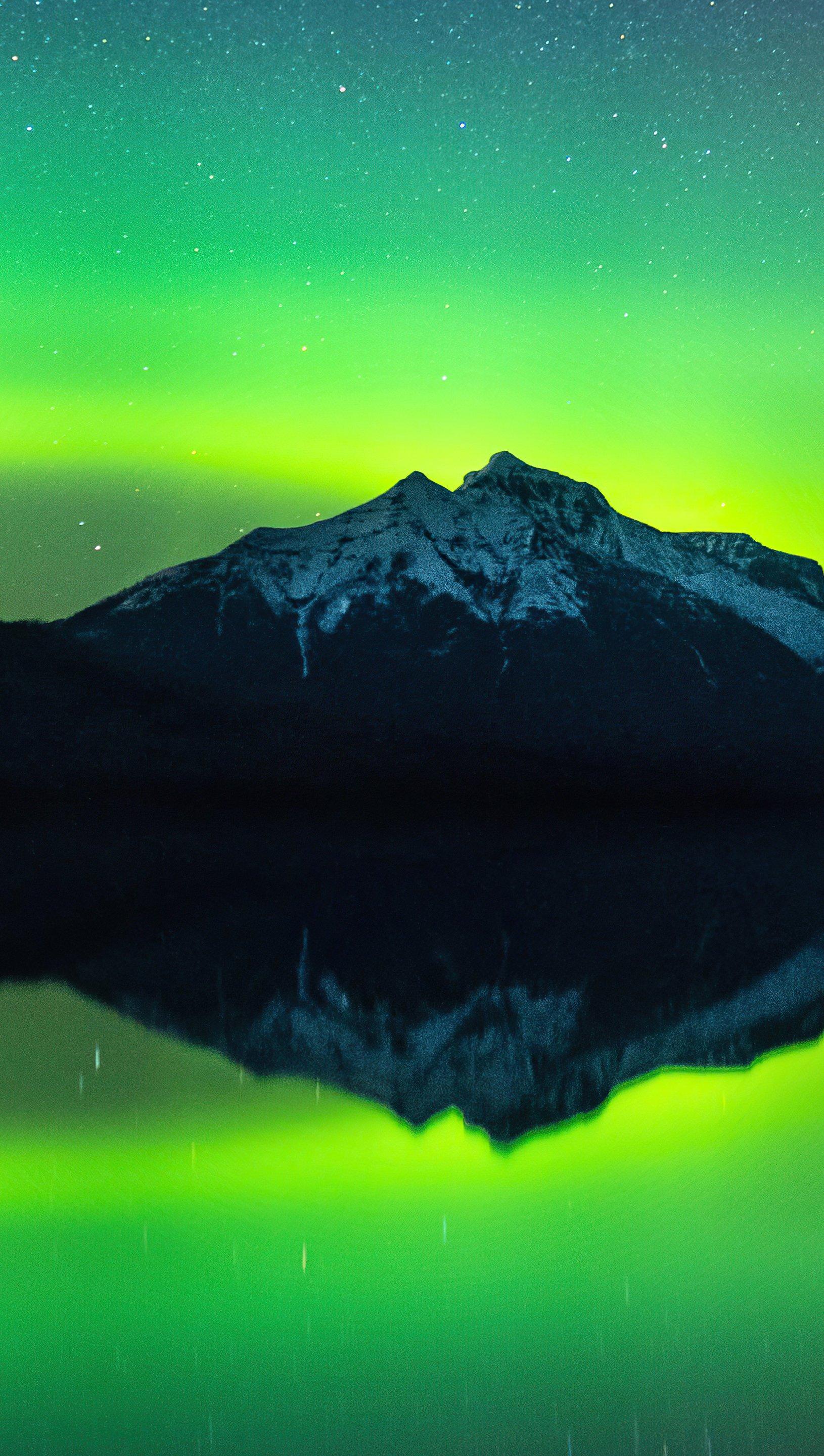 Wallpaper Mountains under green sky Vertical