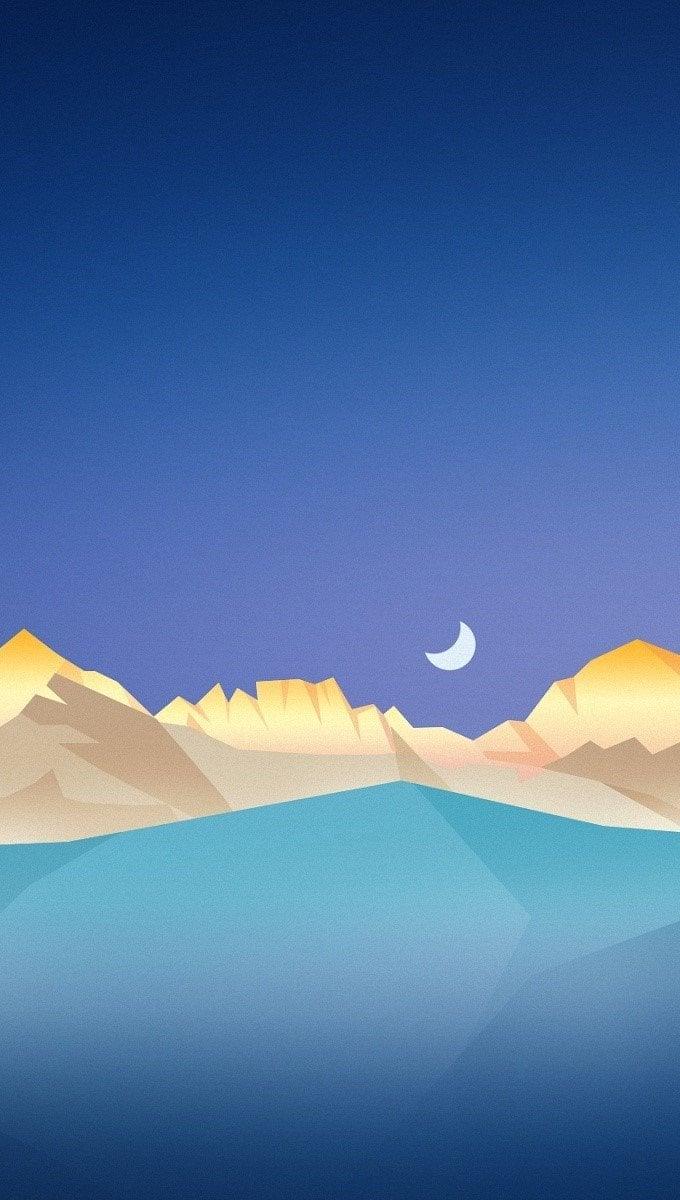 Fondos de pantalla Montañas bajo un cielo estrellado Vertical