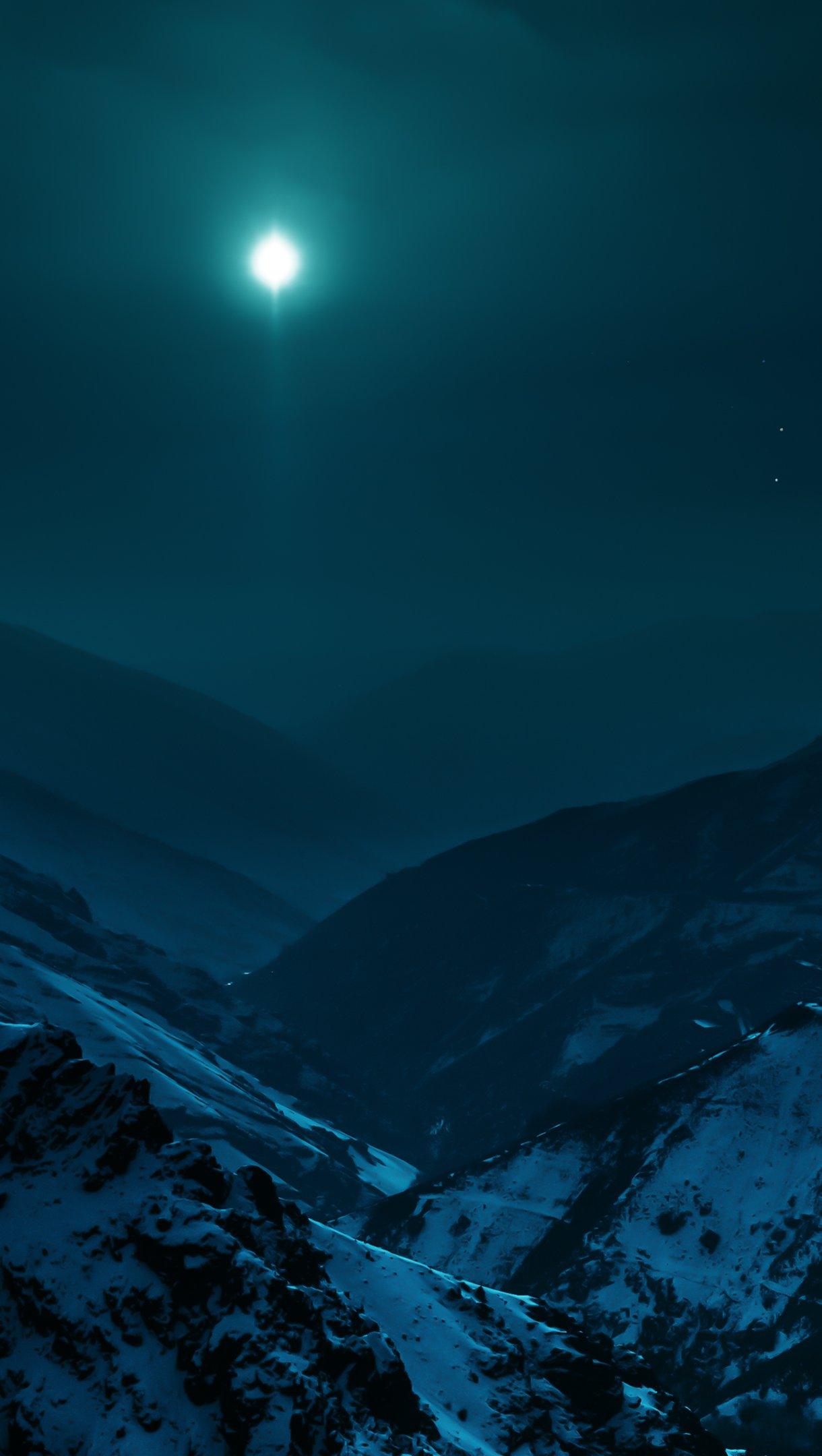 Wallpaper Mountains with moonlight Vertical