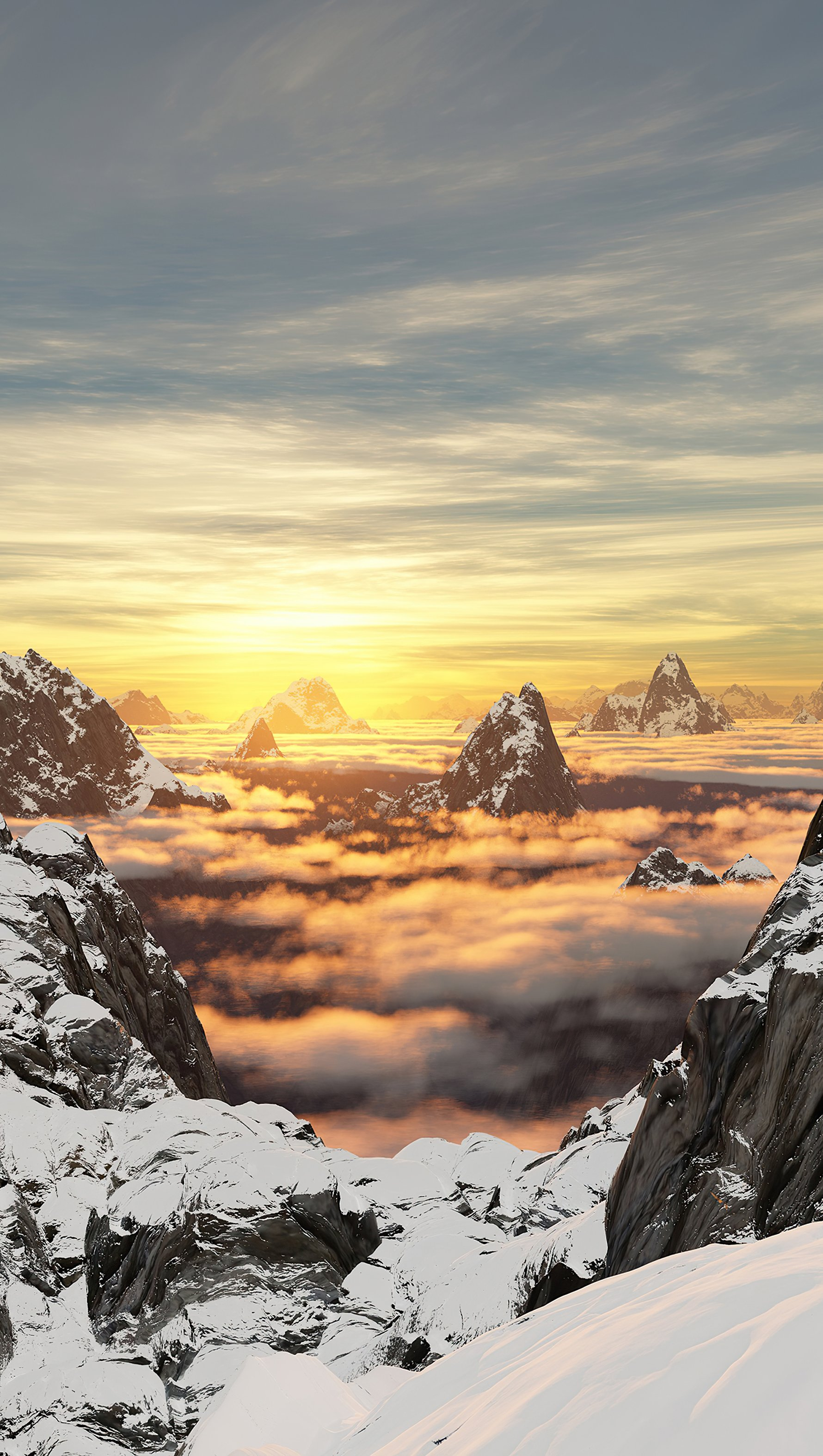 Wallpaper Mountains with snow at sunrise Vertical