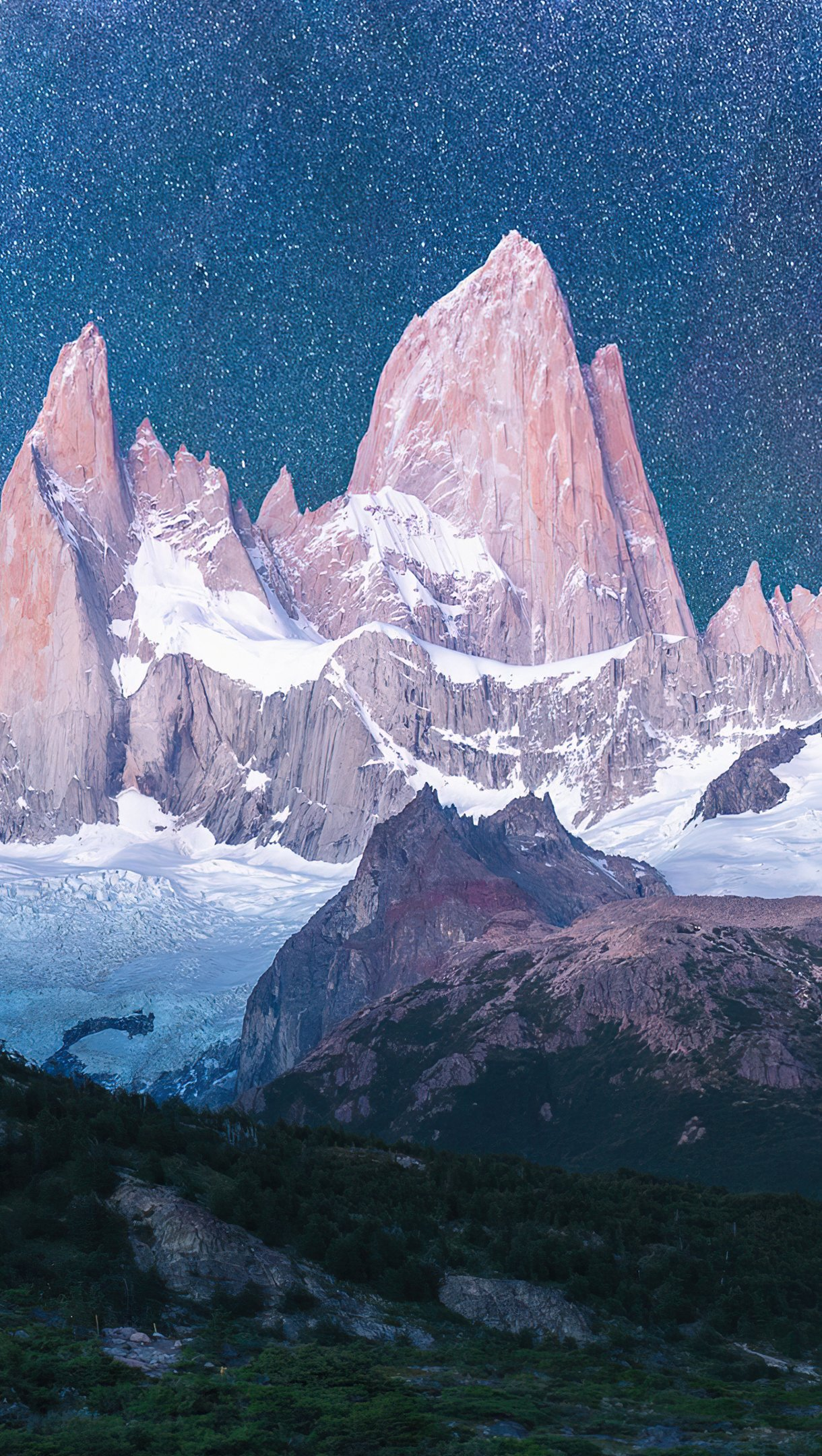 Wallpaper Mountains with snow under the stars Vertical