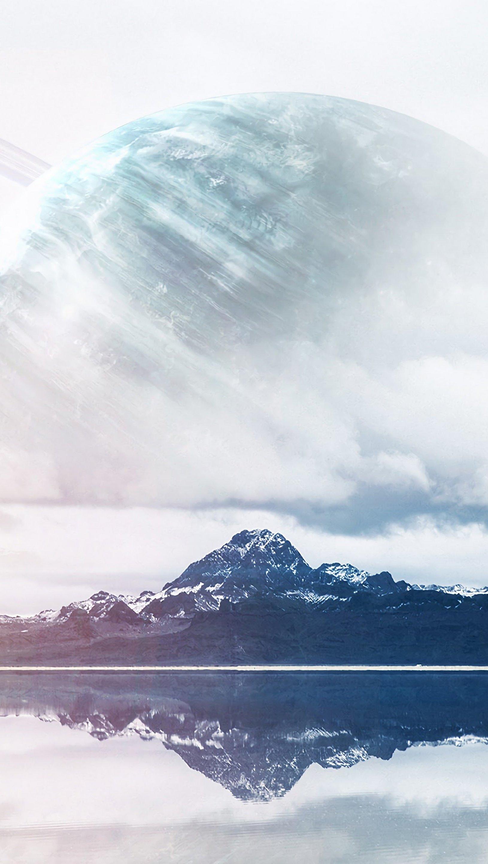 Fondos de pantalla Montañas con planeta de fondo neblina Vertical