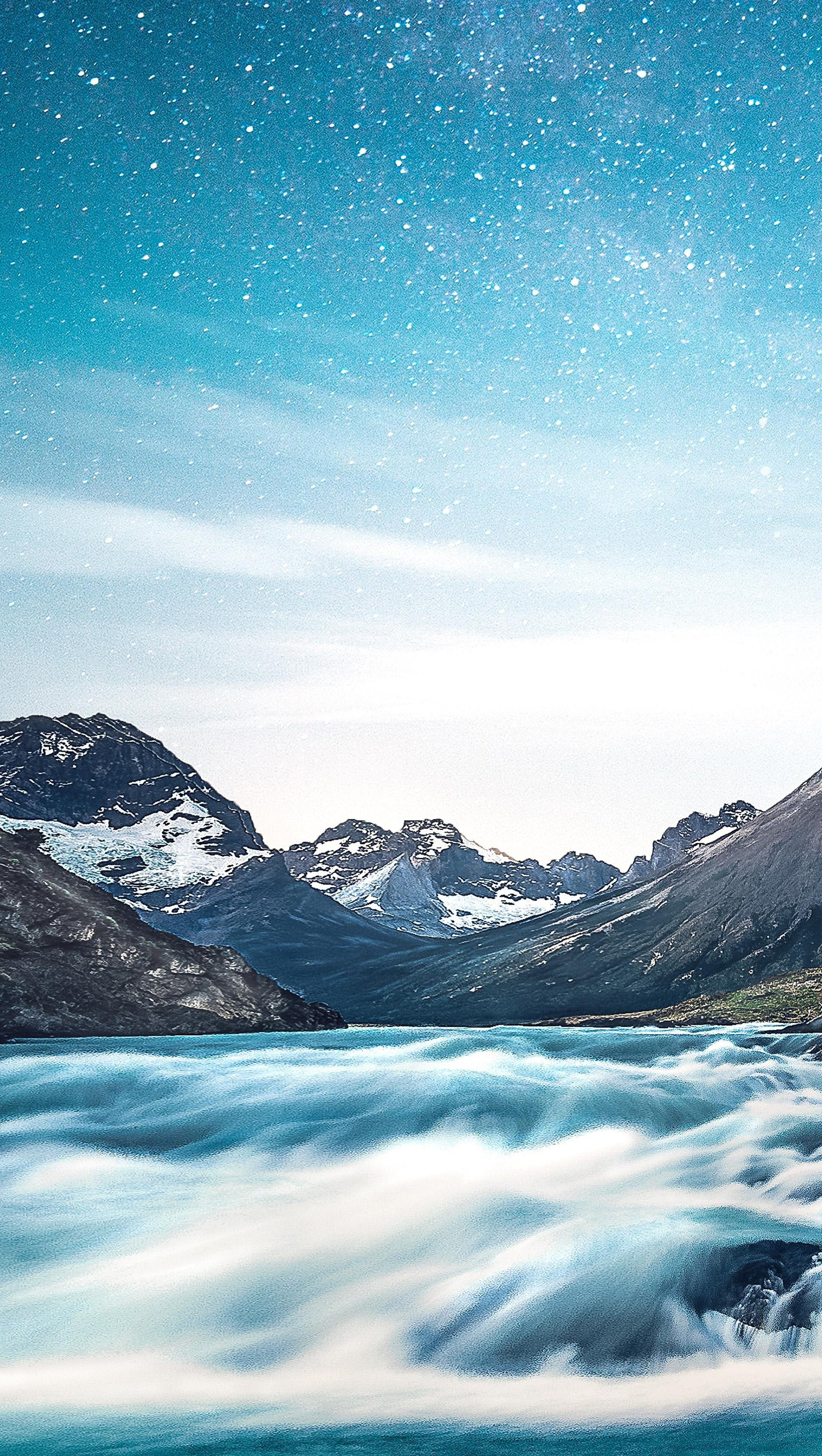 Wallpaper Mountains with river and stars Vertical