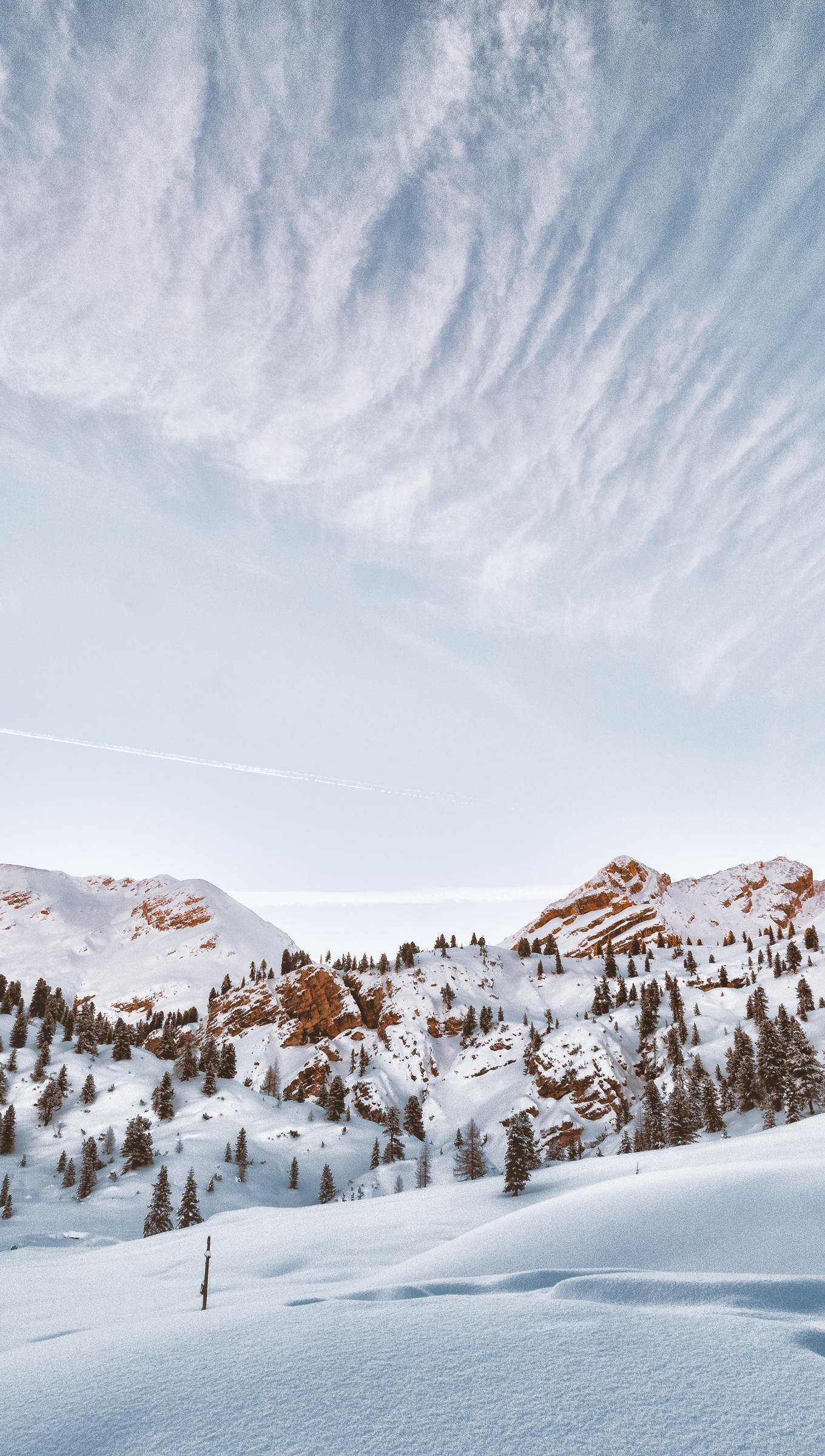 Wallpaper Mountains covered in snow Vertical
