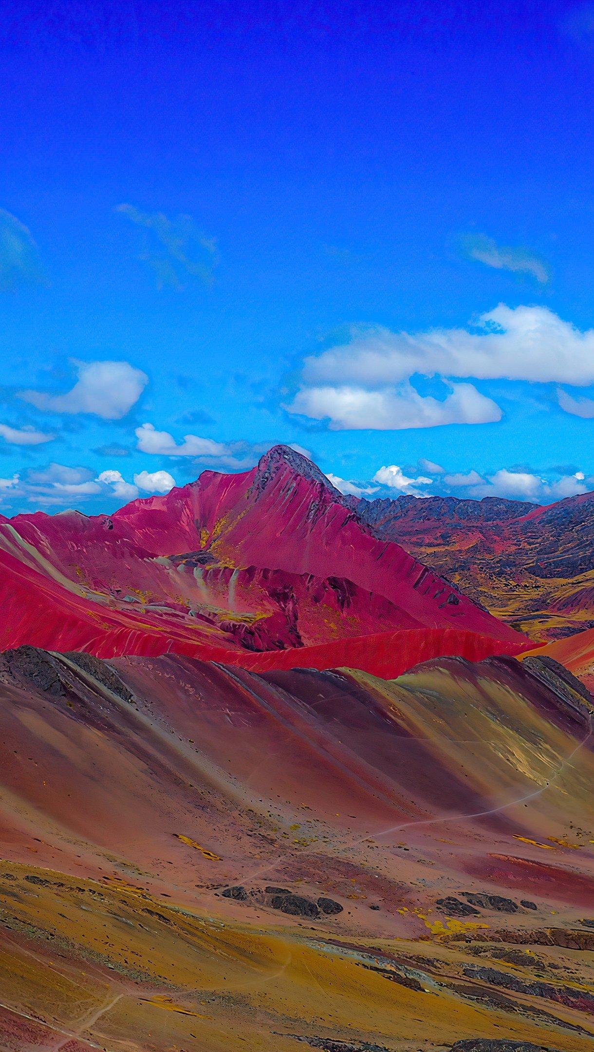 Fondos de pantalla Montañas de arcoíris en Perú Vertical