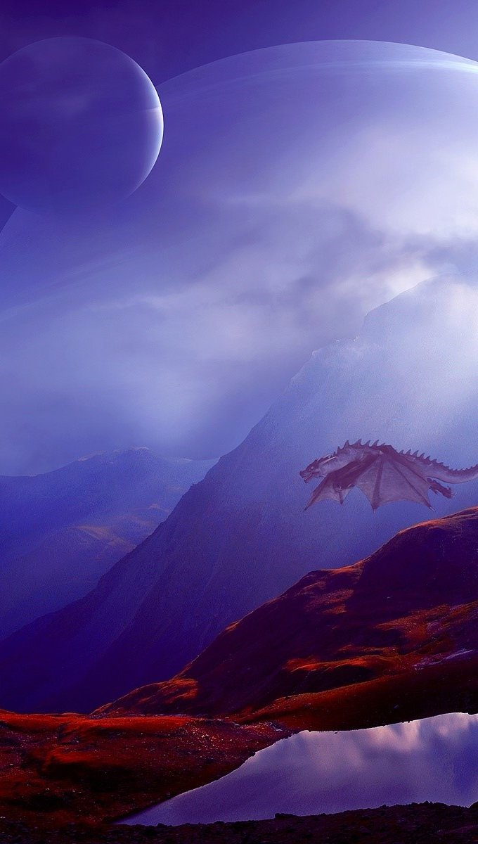 Wallpaper Mountains of dragons Vertical