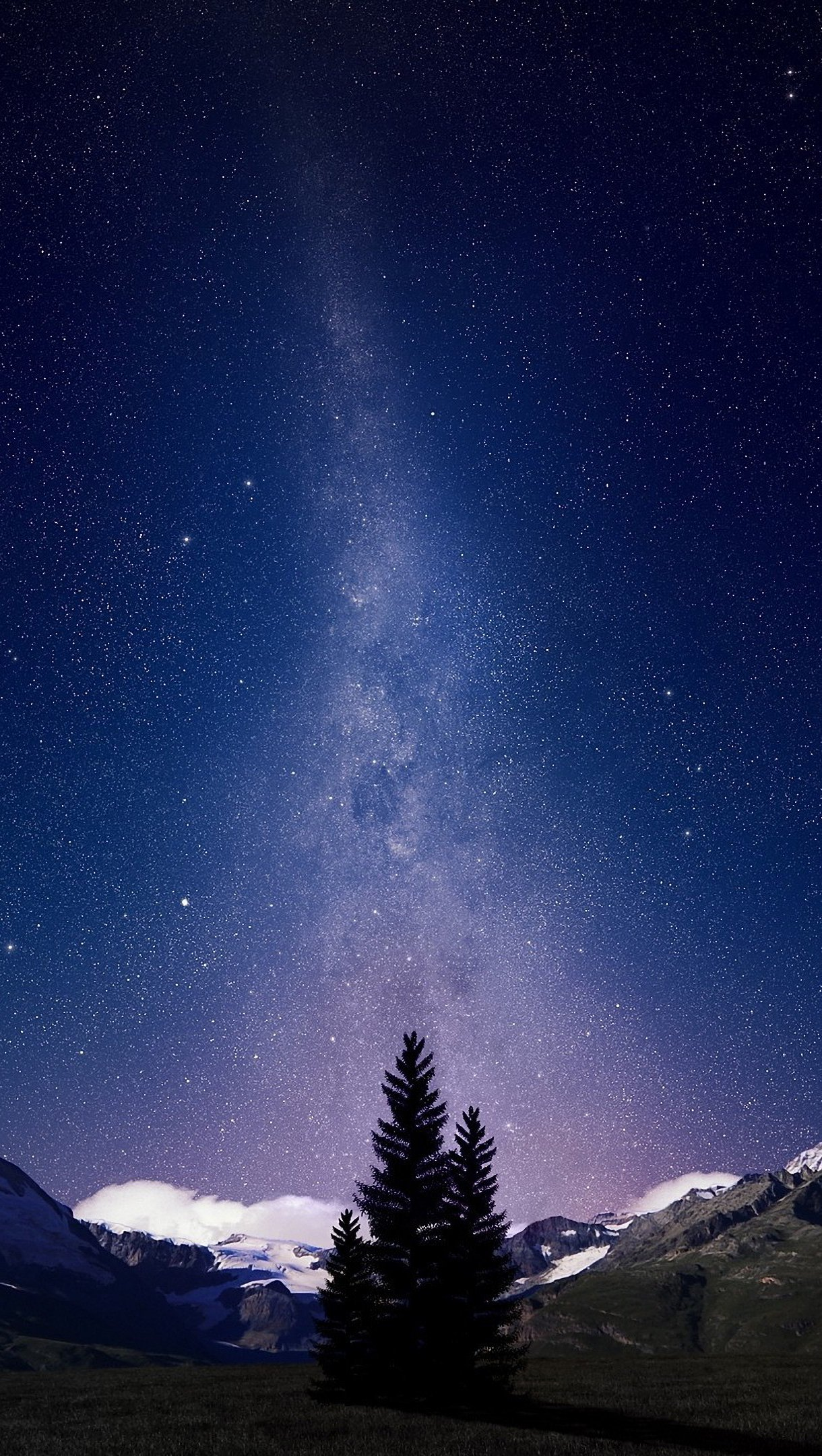 Wallpaper Mountains of night and stars Vertical