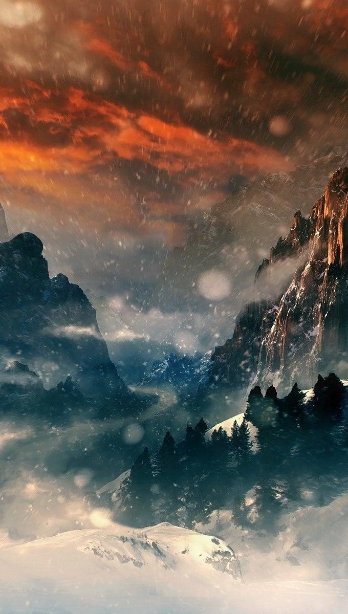 Wallpaper Hobbit Mountains Vertical