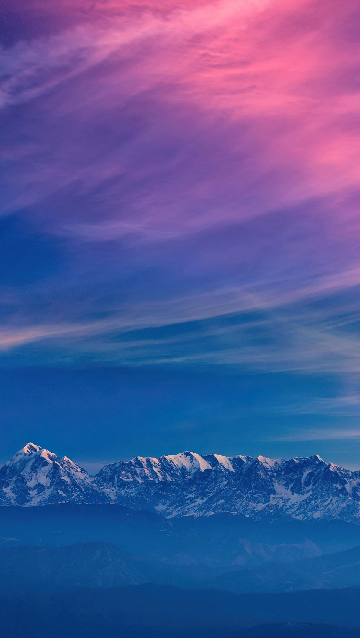 Wallpaper Mountains in colorful sunset Vertical