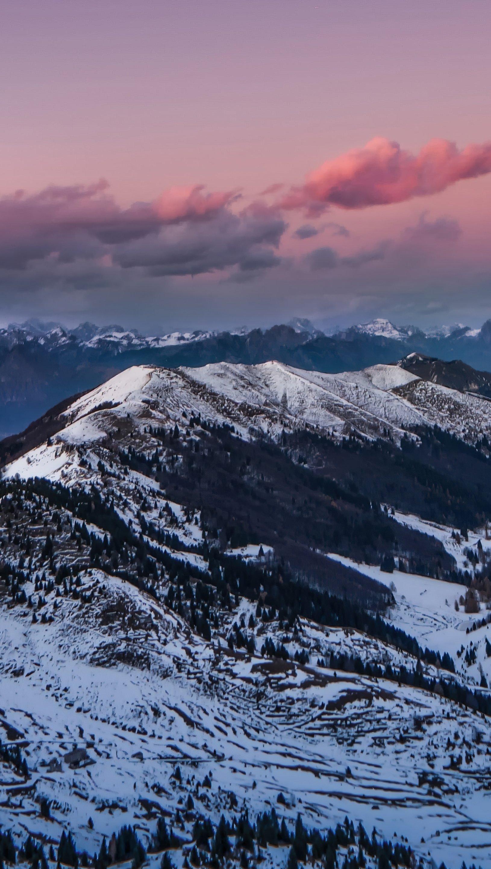 Wallpaper Mountains on pink sunset Vertical