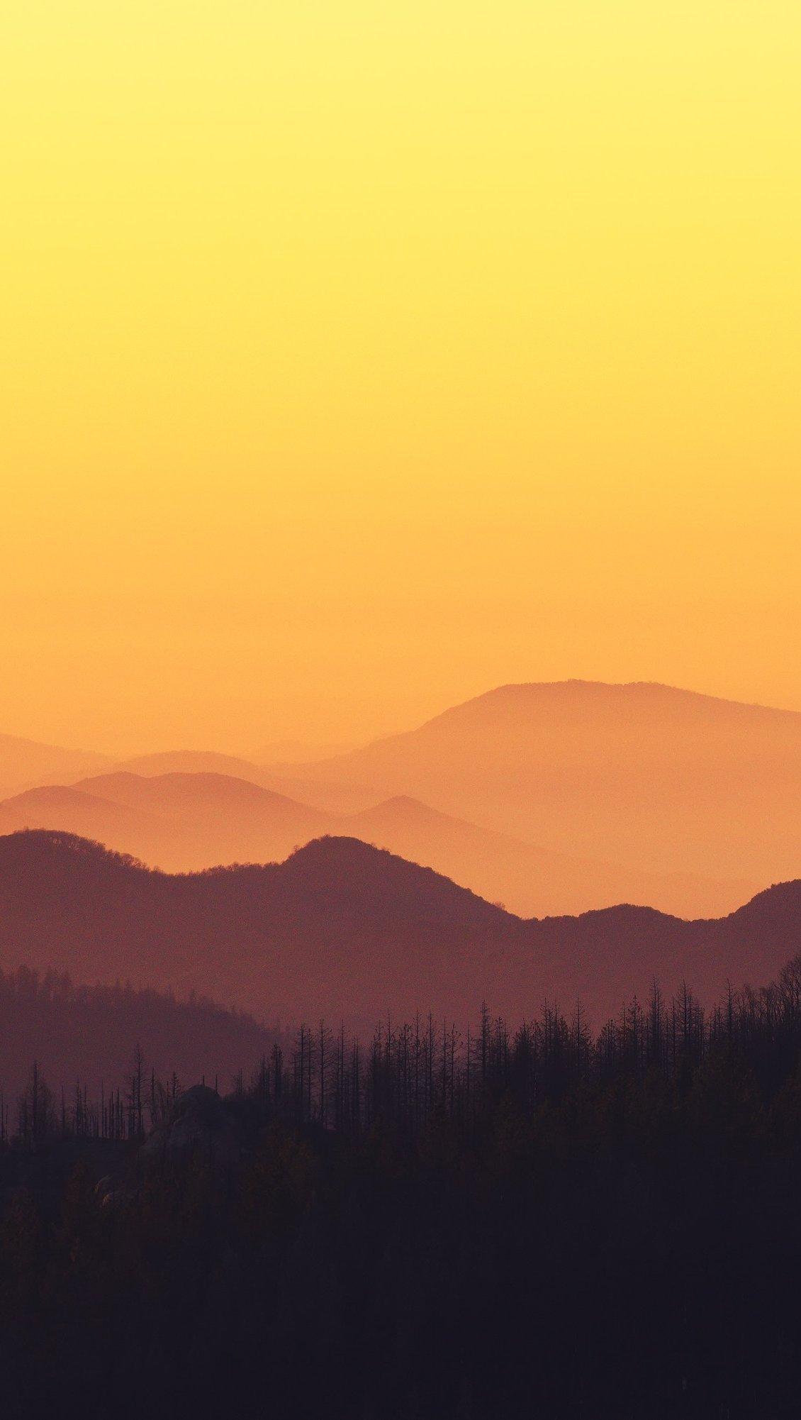 Fondos de pantalla Montañas en bosque al atardecer Vertical