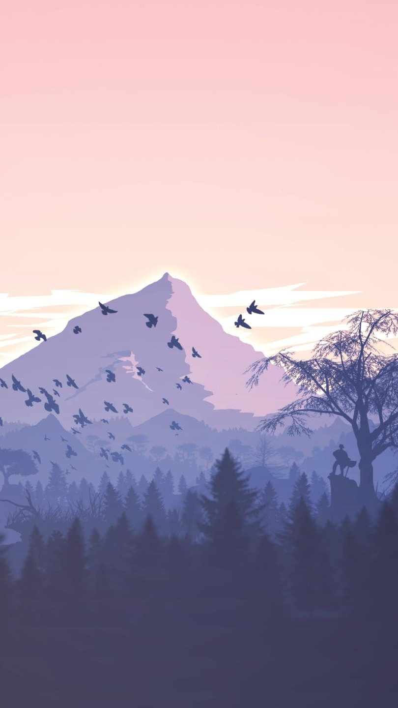 Wallpaper Mountains in forest  minimalist flat Vertical