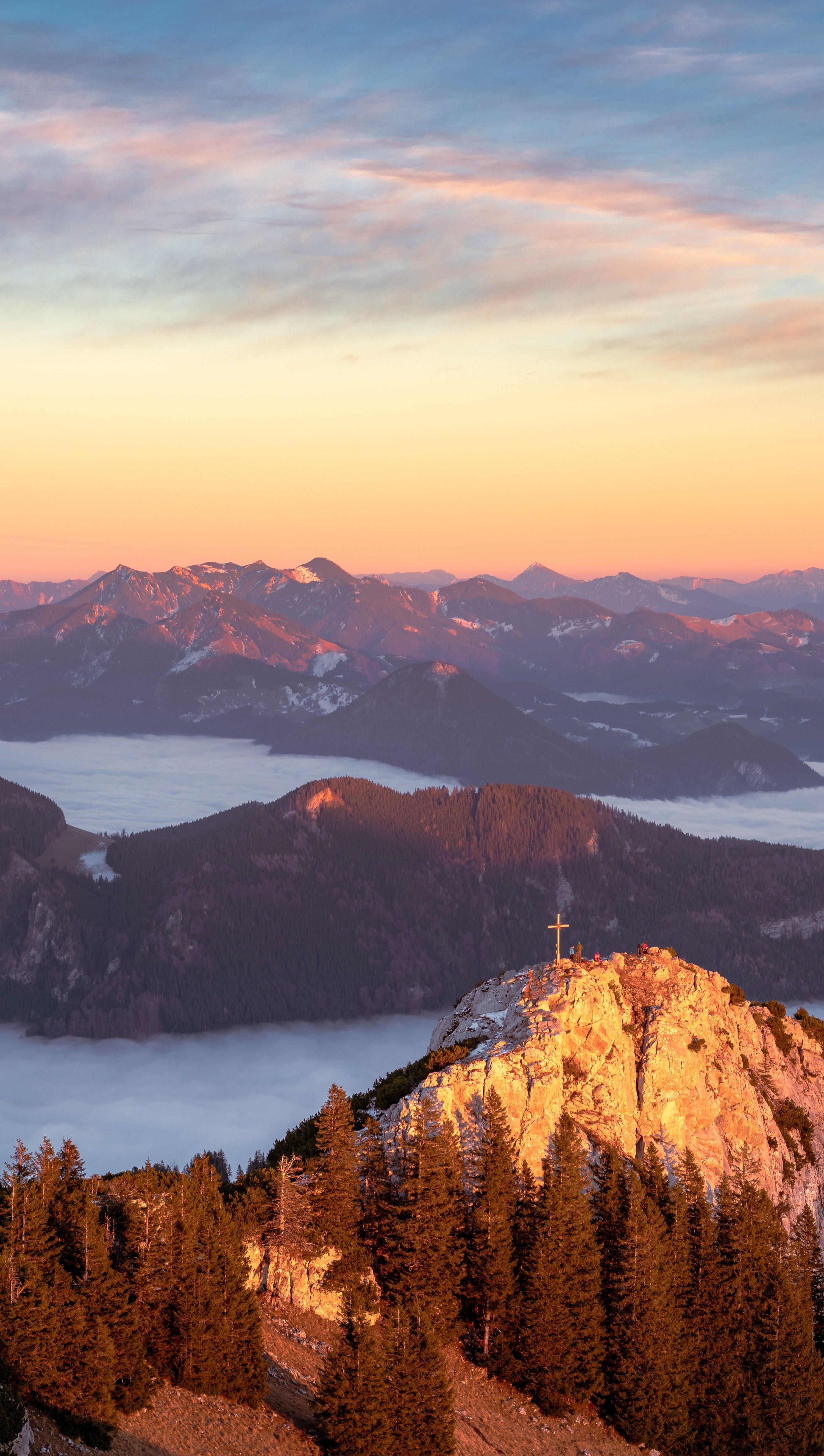Wallpaper Mountains on seaside at sunset Vertical