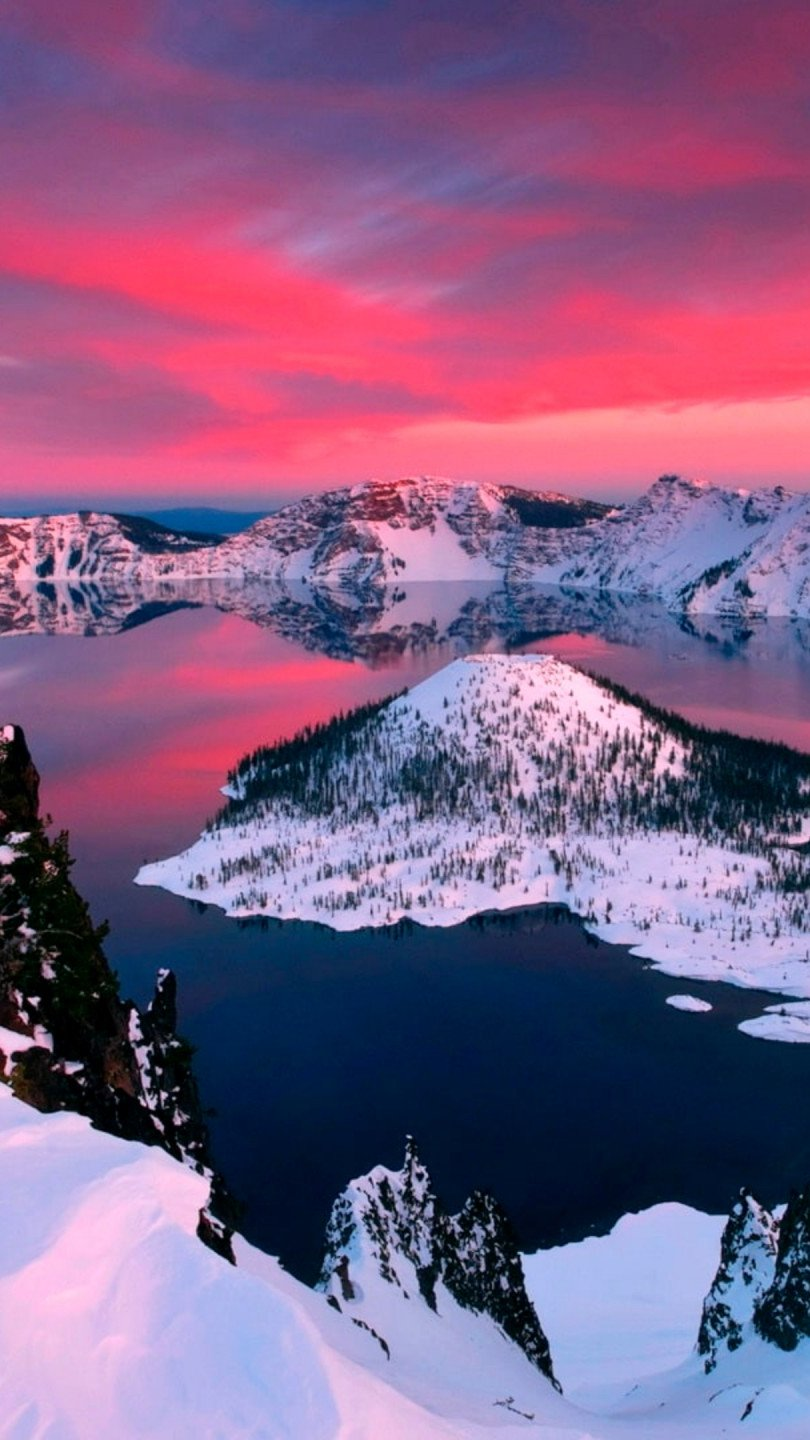 Wallpaper Mountains in lake with snow Vertical