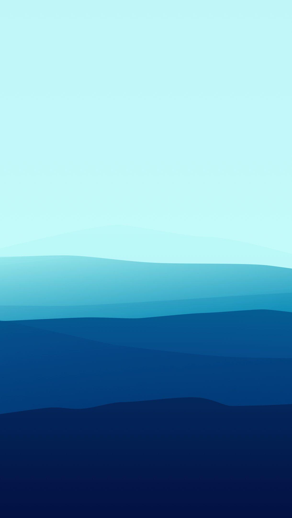 Fondos de pantalla Montañas Minimalista Degradado Azul Vertical