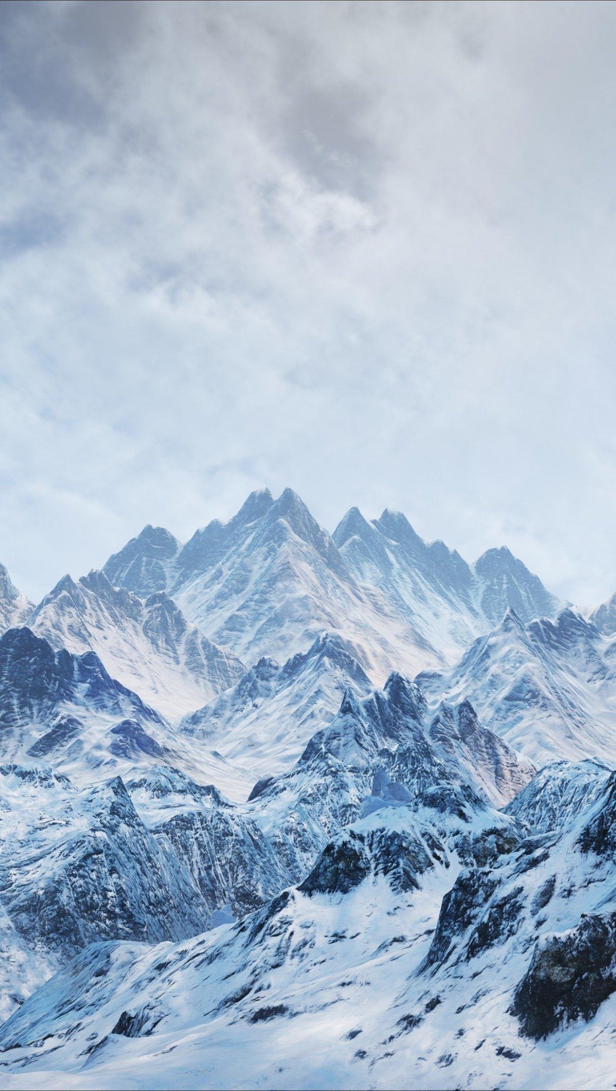 Fondos de pantalla Montañas neblina nubes Vertical