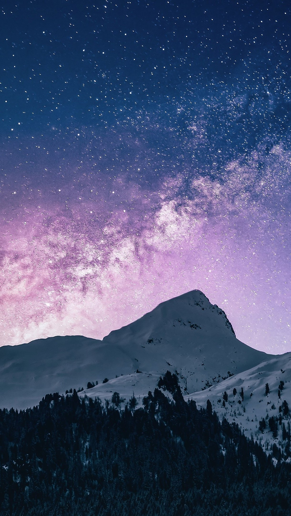 Wallpaper Snowy mountains sky with stars and comet Vertical
