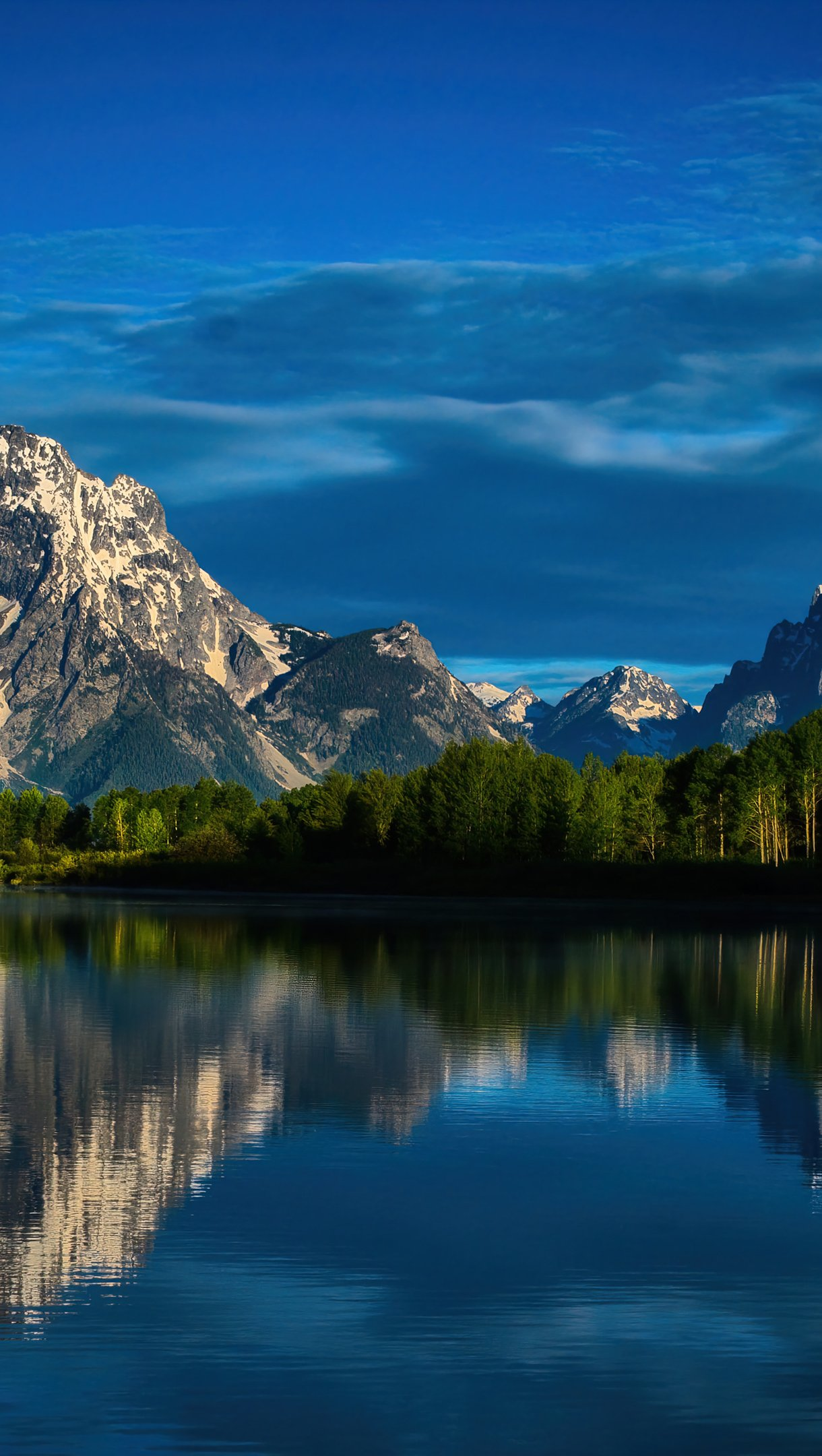 Wallpaper Mountains reflected in lake with blue sky Vertical