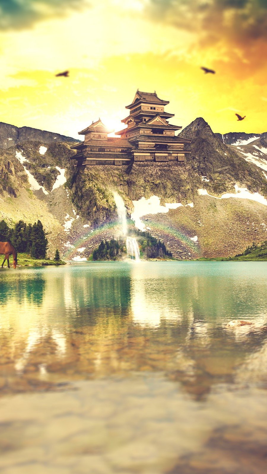Wallpaper Mountains reflecting in the mountains Vertical