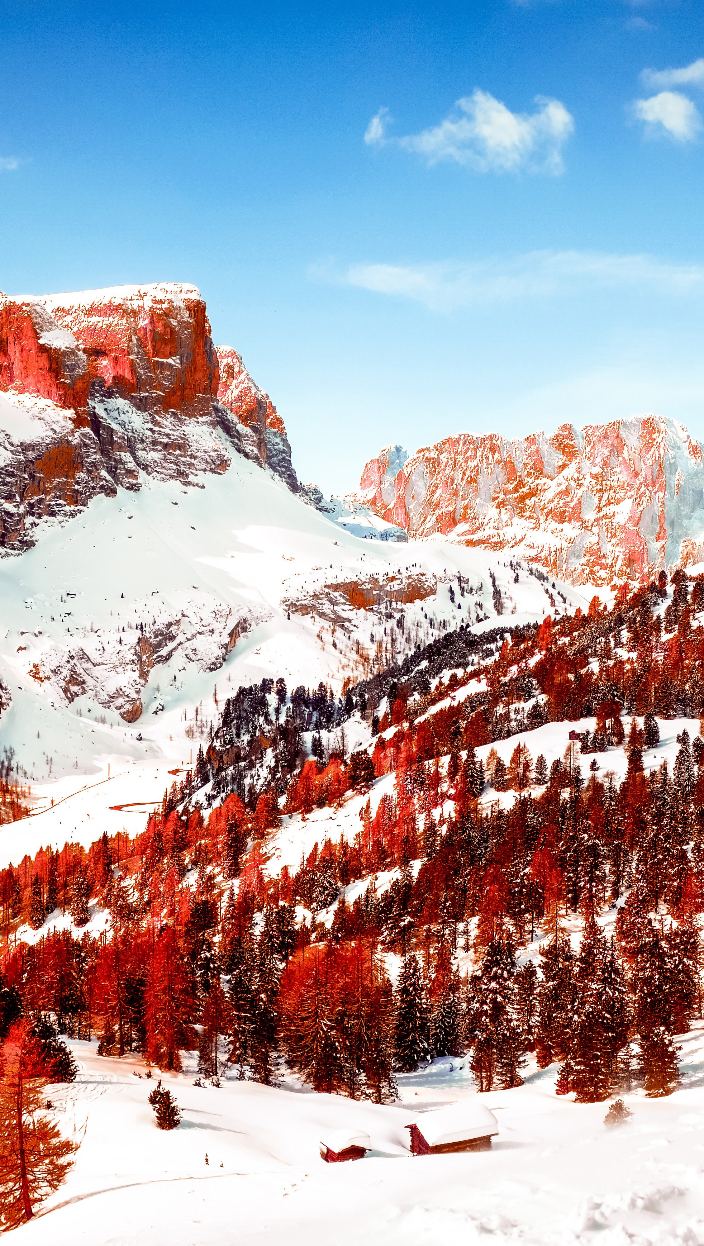Wallpaper Red mountains with snow Vertical