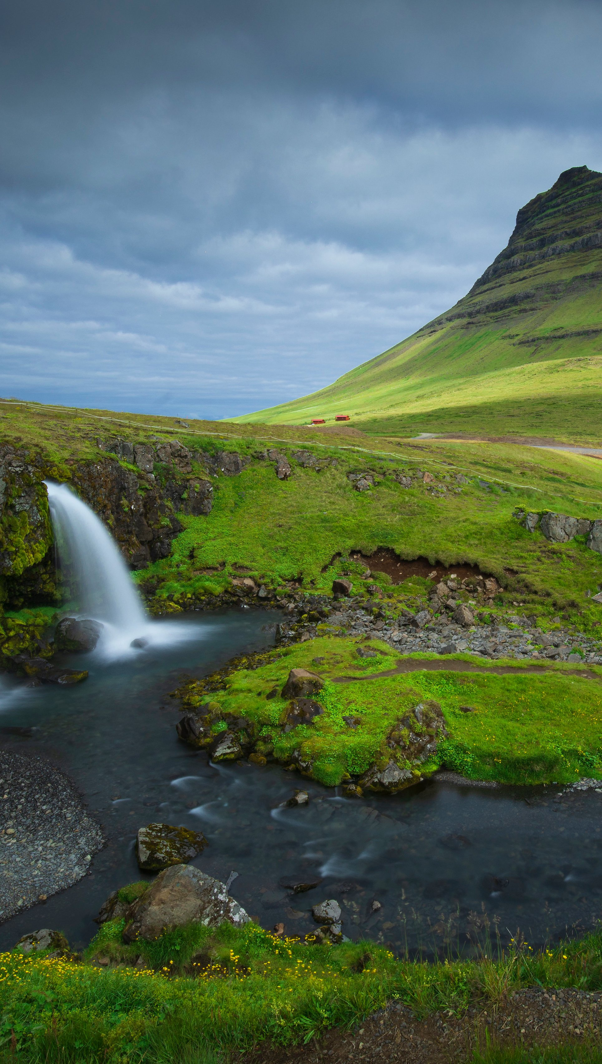 Wallpaper Mountains and waterfalls in Iceland Vertical