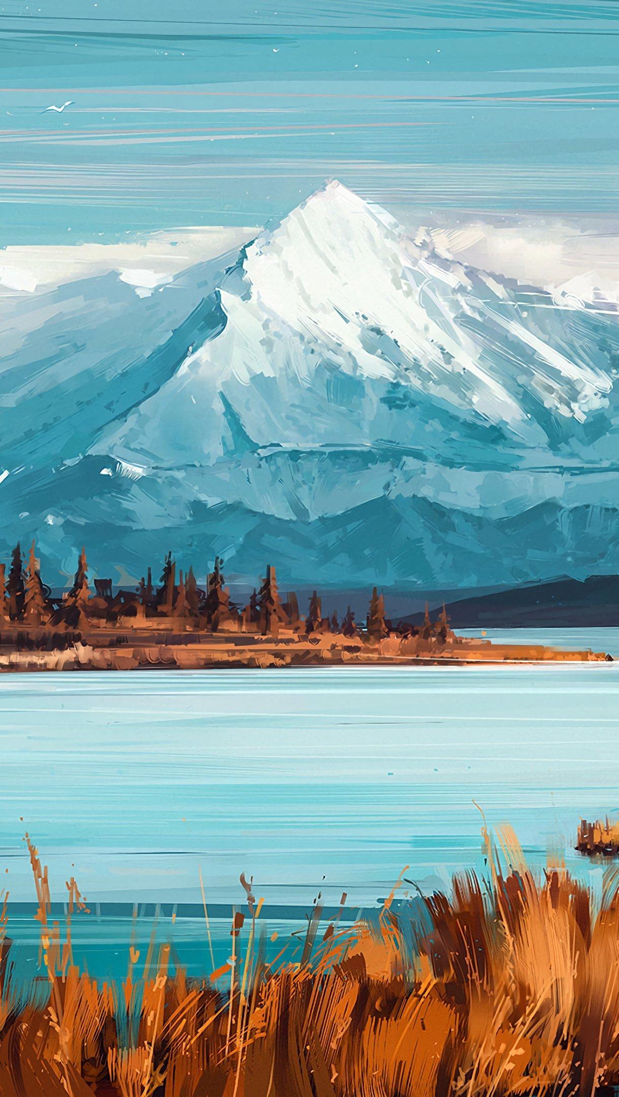 Fondos de pantalla Montañas y lago como arte digital Vertical
