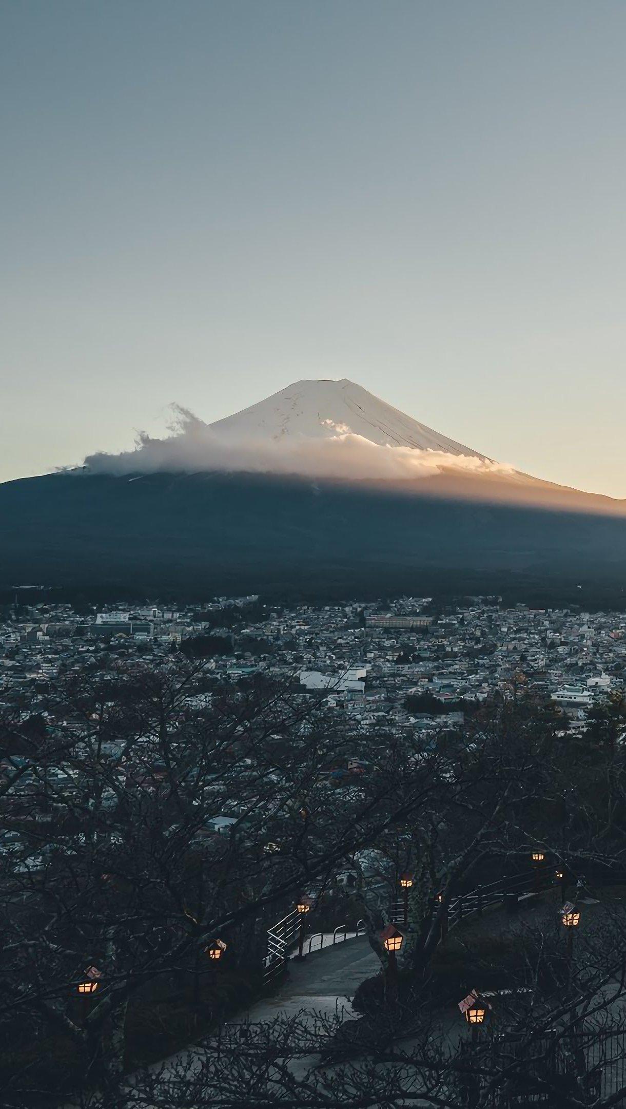 Wallpaper Mount Fuji and Japan City Vertical