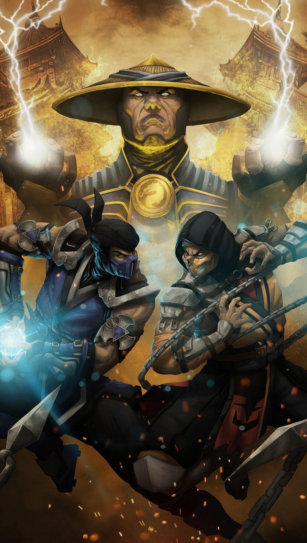 Fondos de pantalla Mortal Kombat Raiden, Subzero y Scorpion Vertical