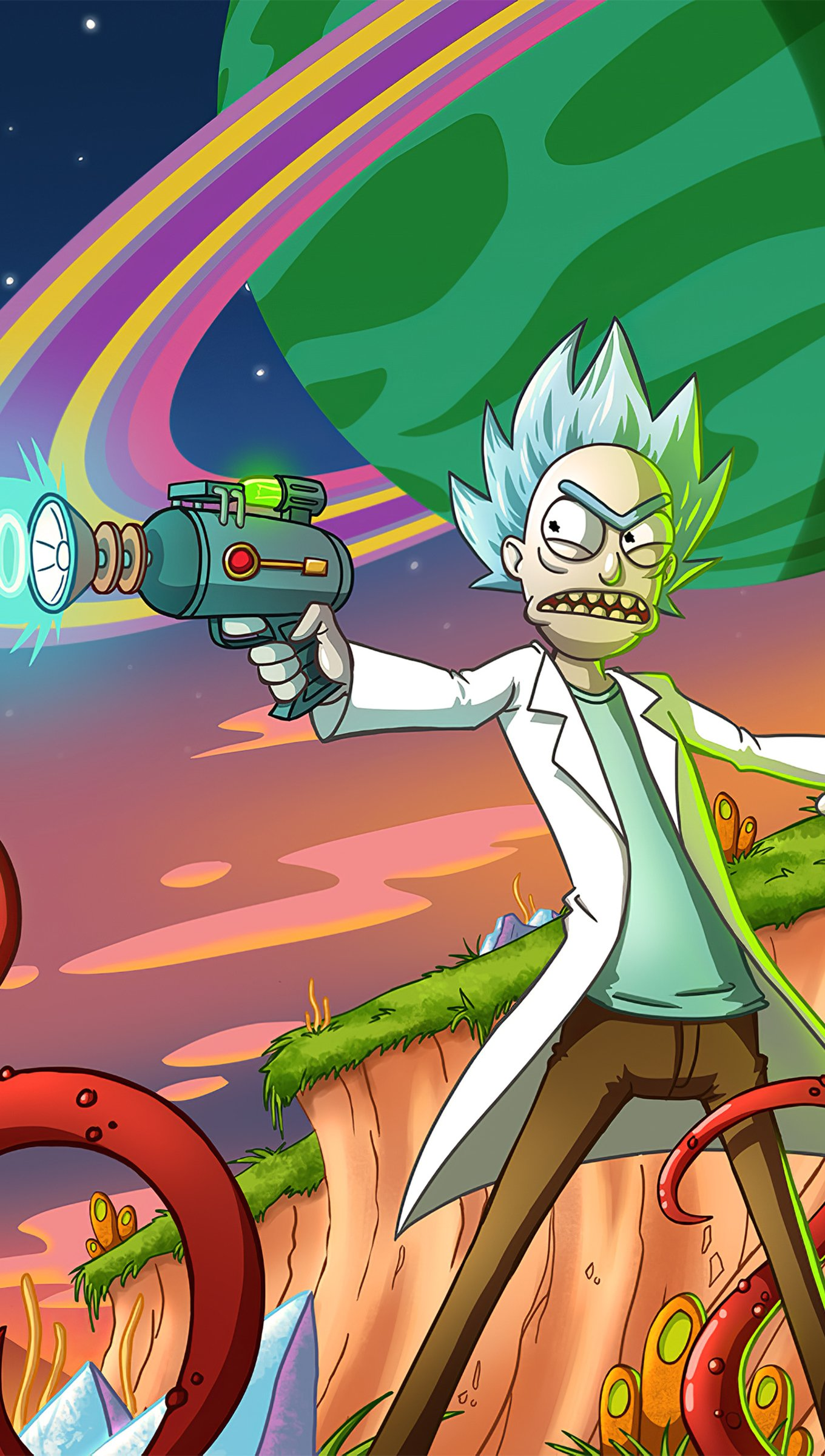 Wallpaper Morty being attacked Vertical