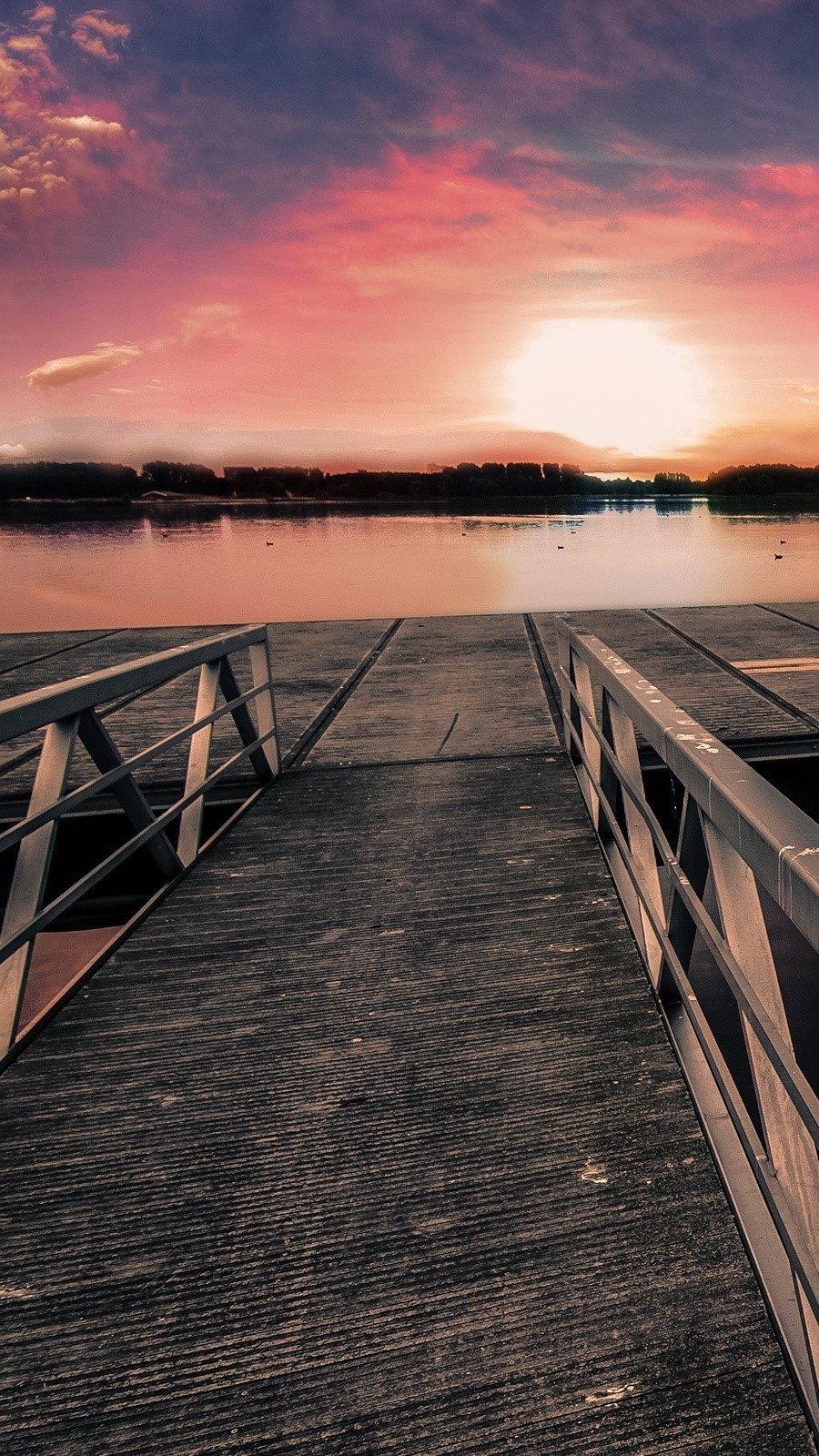Wallpaper Pier at sunset Vertical