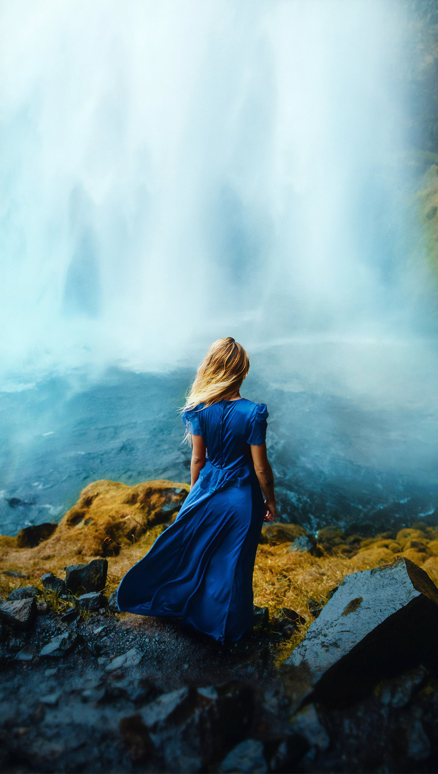 Wallpaper Woman in a dress in front of waterfall Vertical