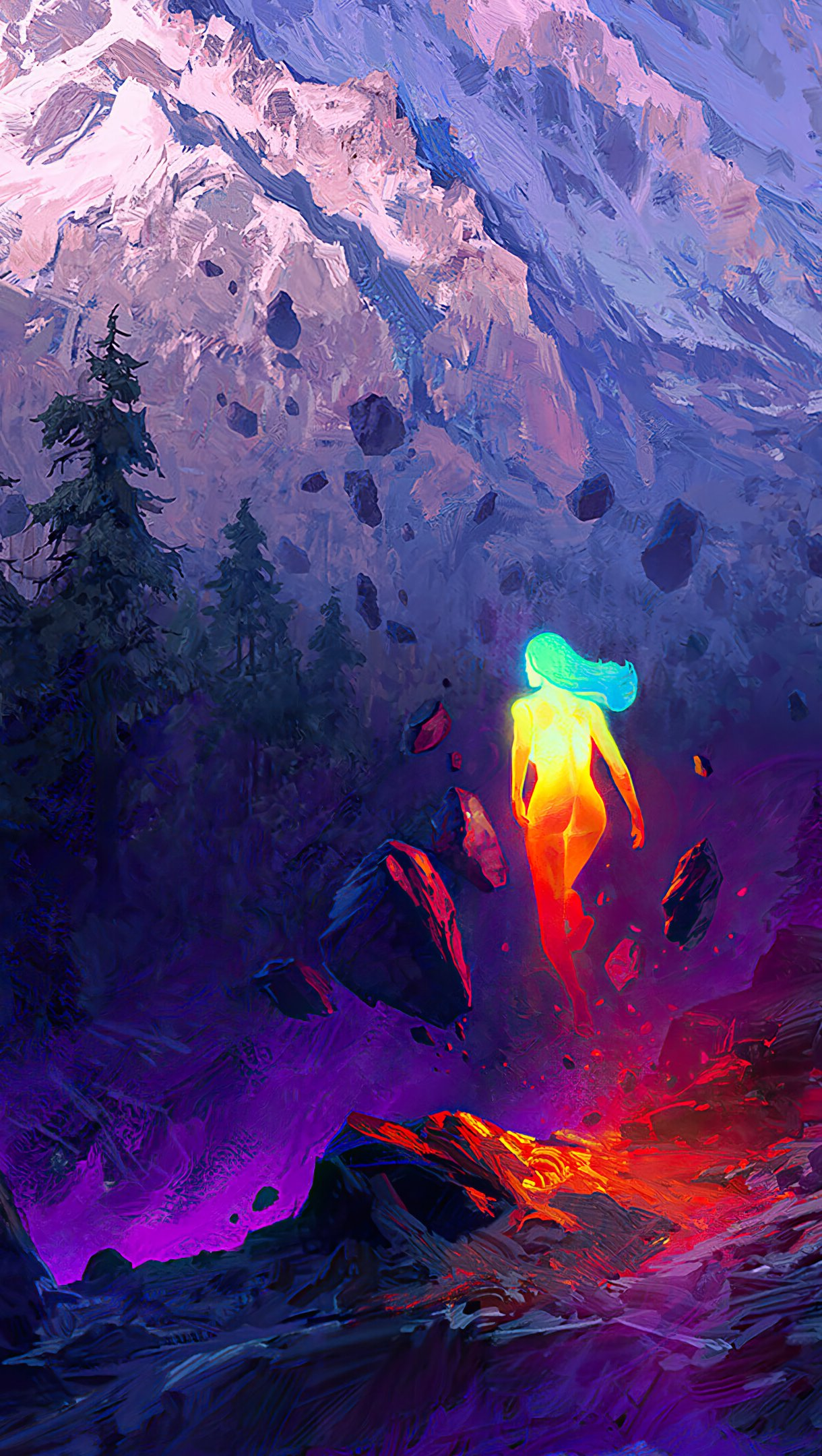 Wallpaper Lighted woman in mountain landscape Vertical