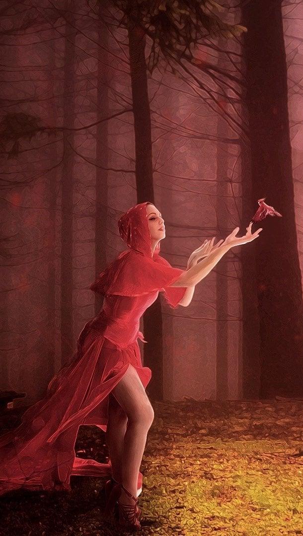 Fondos de pantalla Mujer roja Vertical