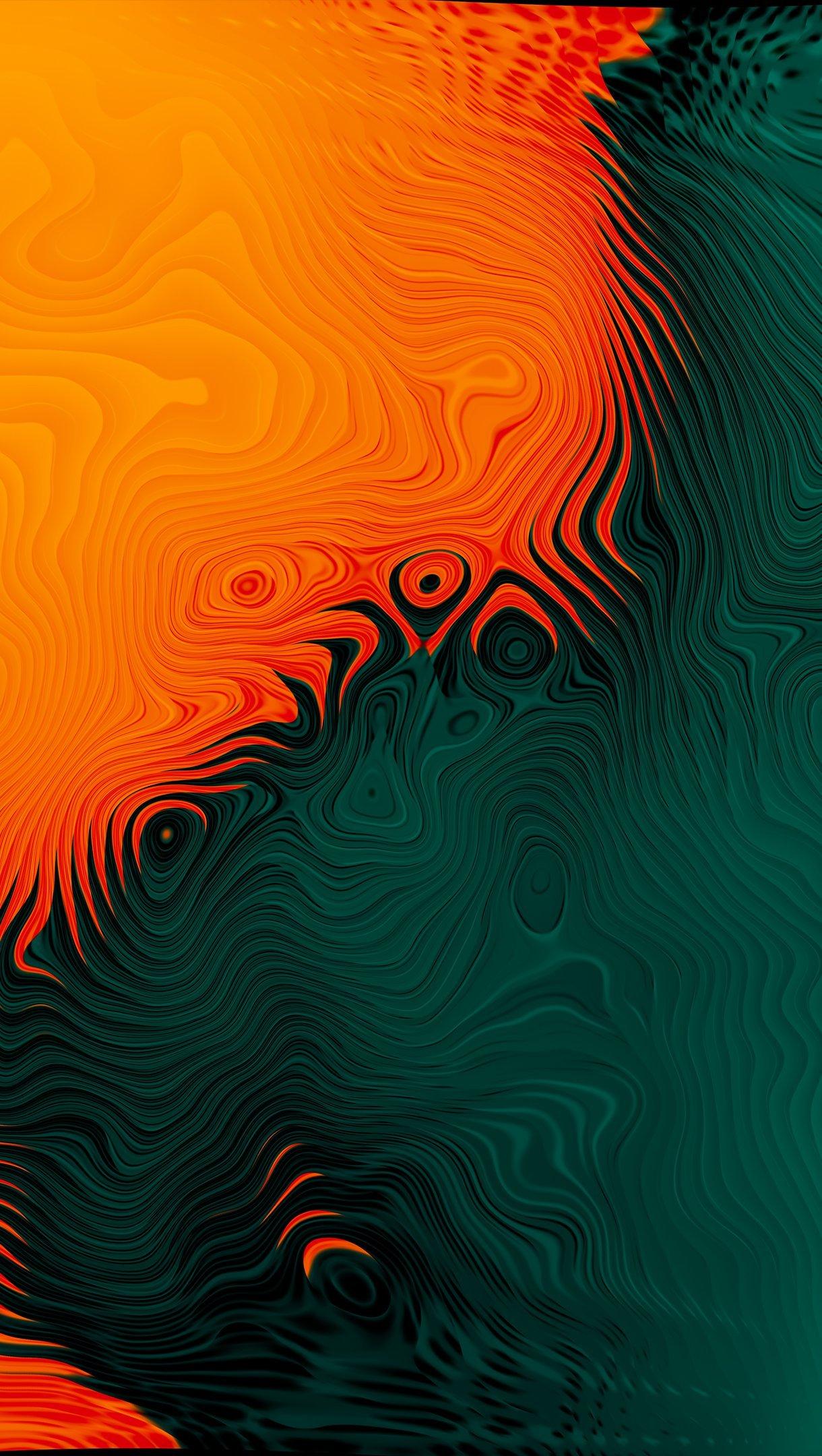 Fondos de pantalla Naranja y verde con olas Vertical