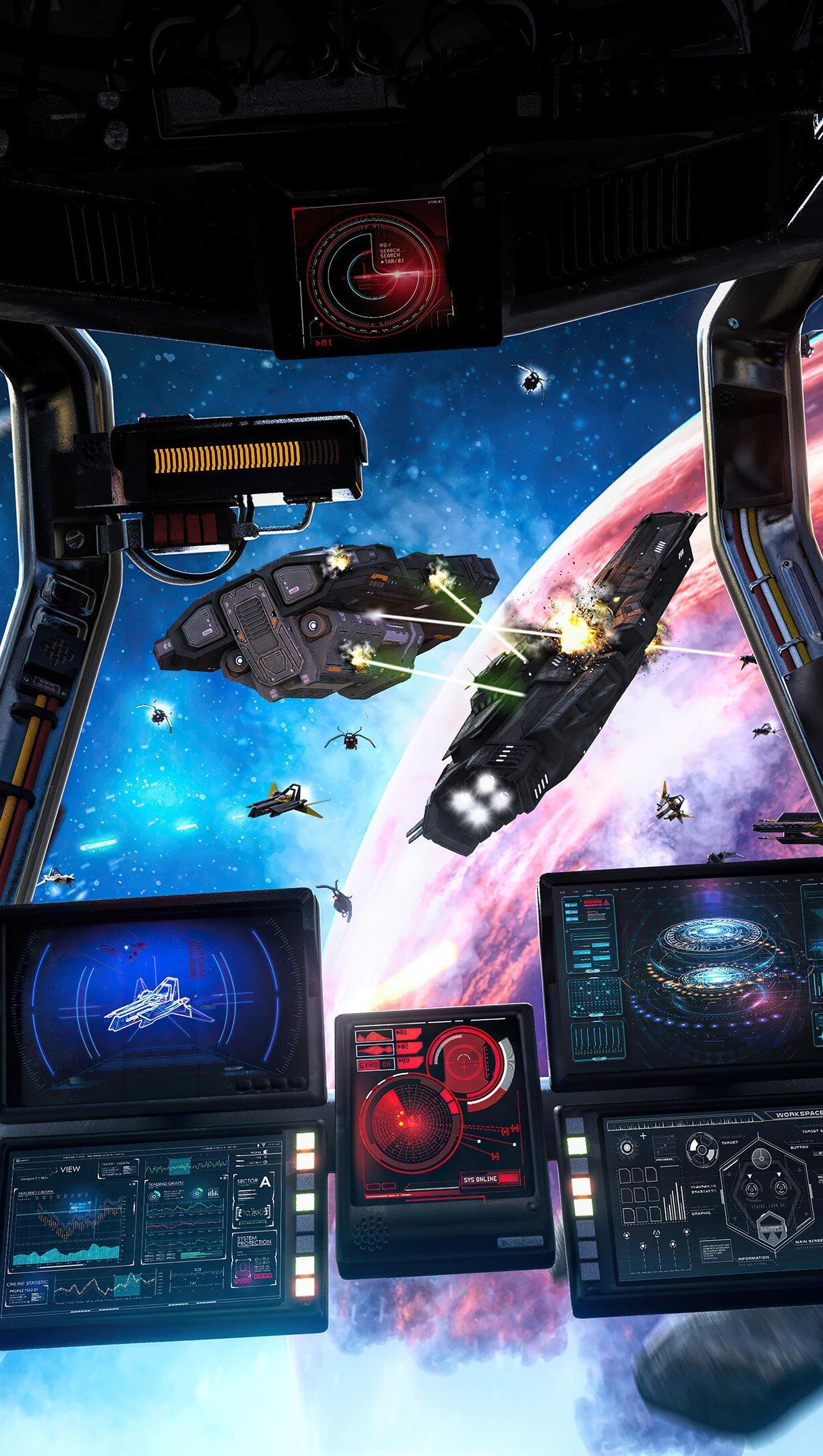 Fondos de pantalla Nave espacial en batalla Vertical