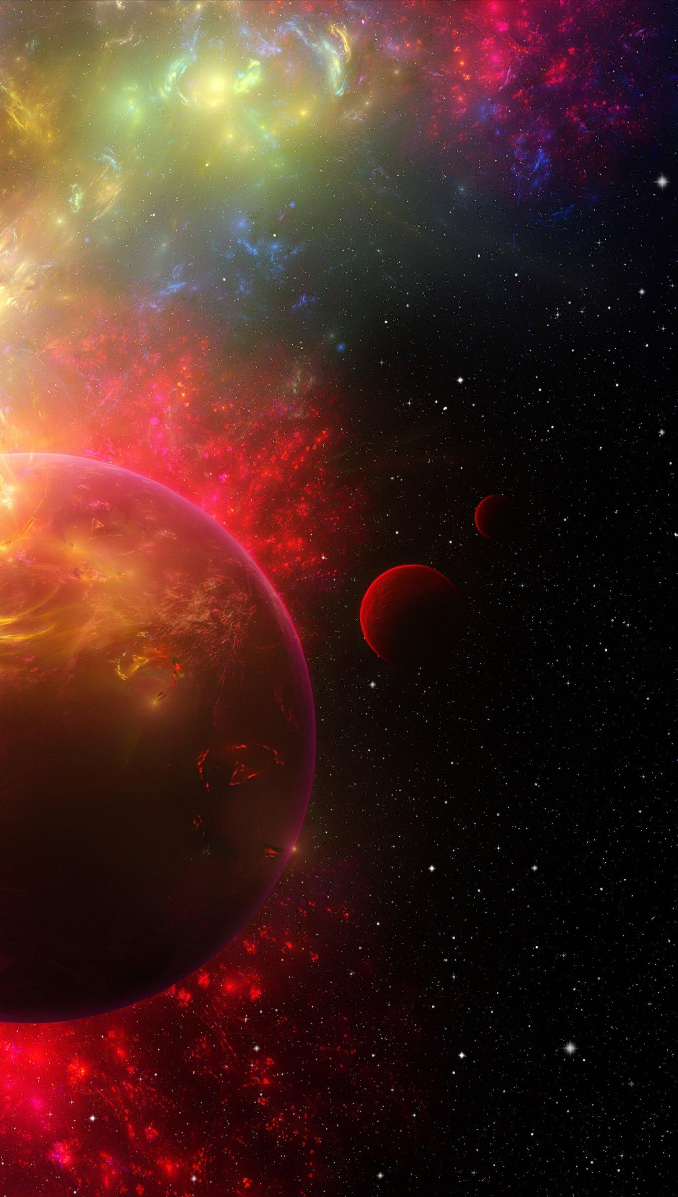 Fondos de pantalla Nebula alrededor de planeta Vertical