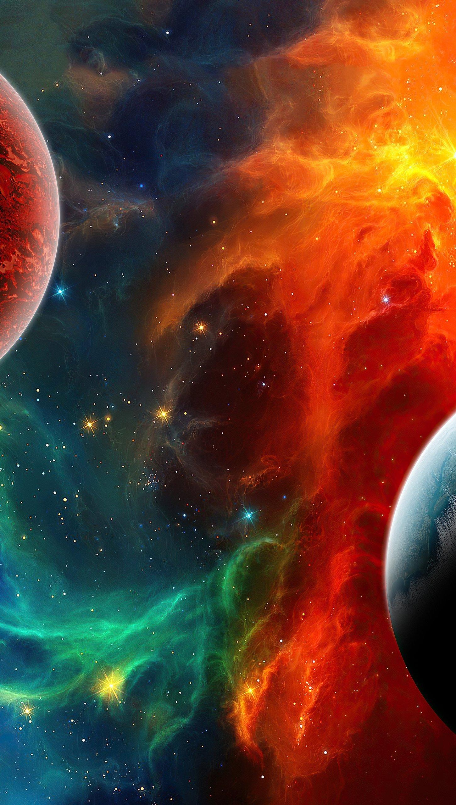 Fondos de pantalla Nebula colorida en el espacio Vertical