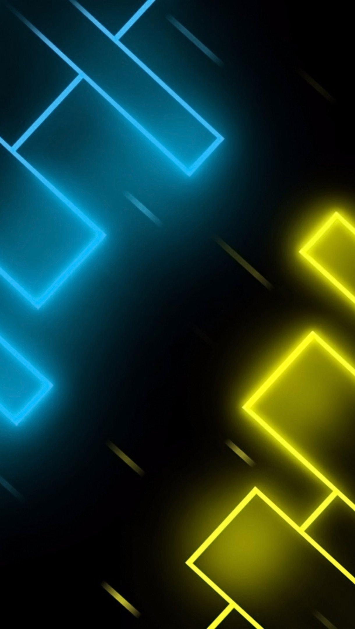Fondos de pantalla Neon azul y amarillo Vertical