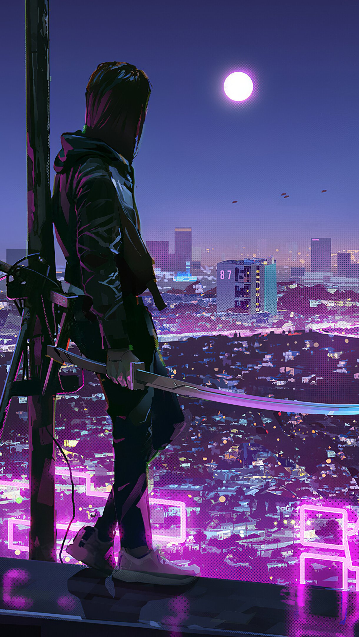 Wallpaper Ninja Katana Sci-Fi City Neon Lights Vertical